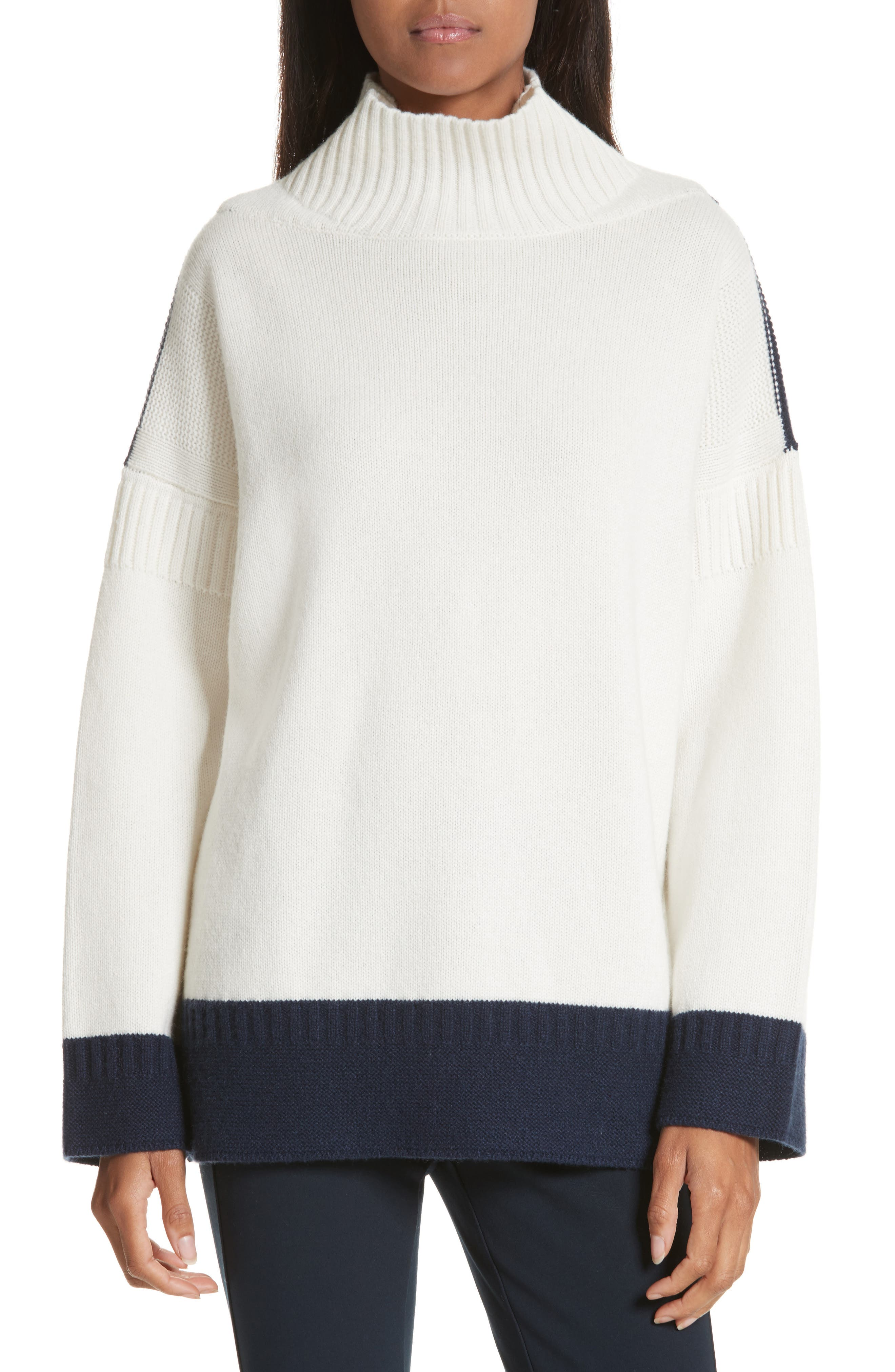 Aubree Funnel Neck Cashmere Sweater,                             Main thumbnail 1, color,                             Ivory/Navy