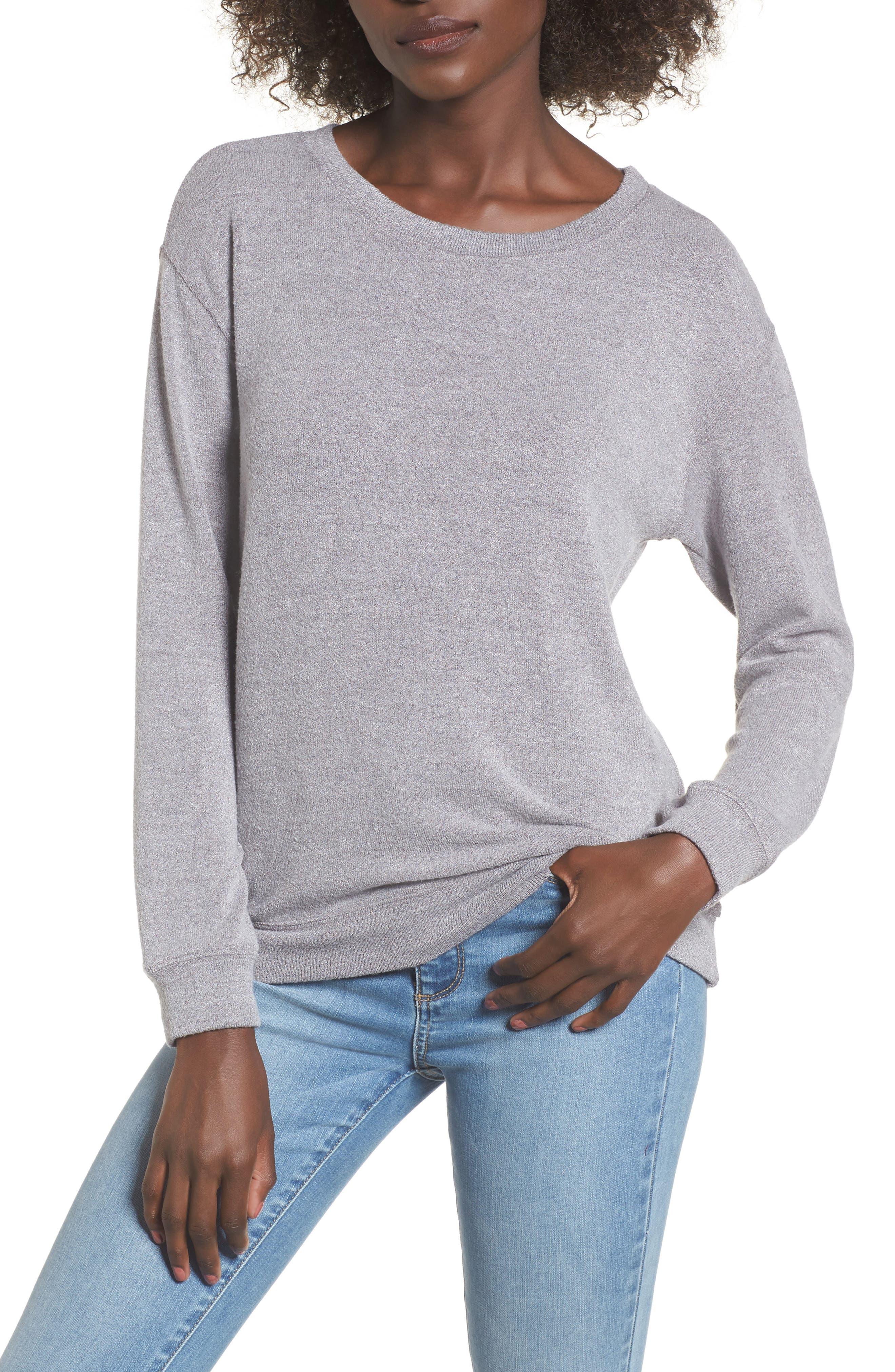 Phoebe Fleece Sweatshirt,                         Main,                         color, Heather Grey
