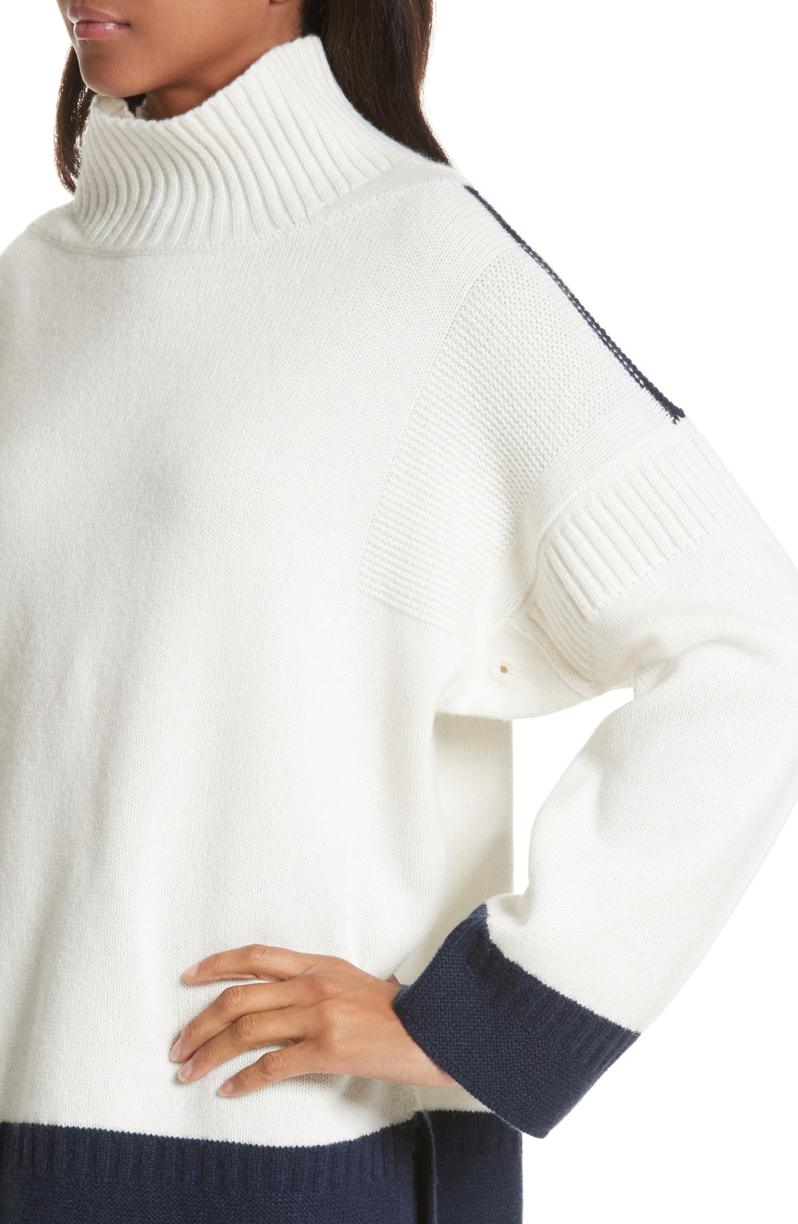 Aubree Funnel Neck Cashmere Sweater,                             Alternate thumbnail 4, color,                             Ivory/Navy