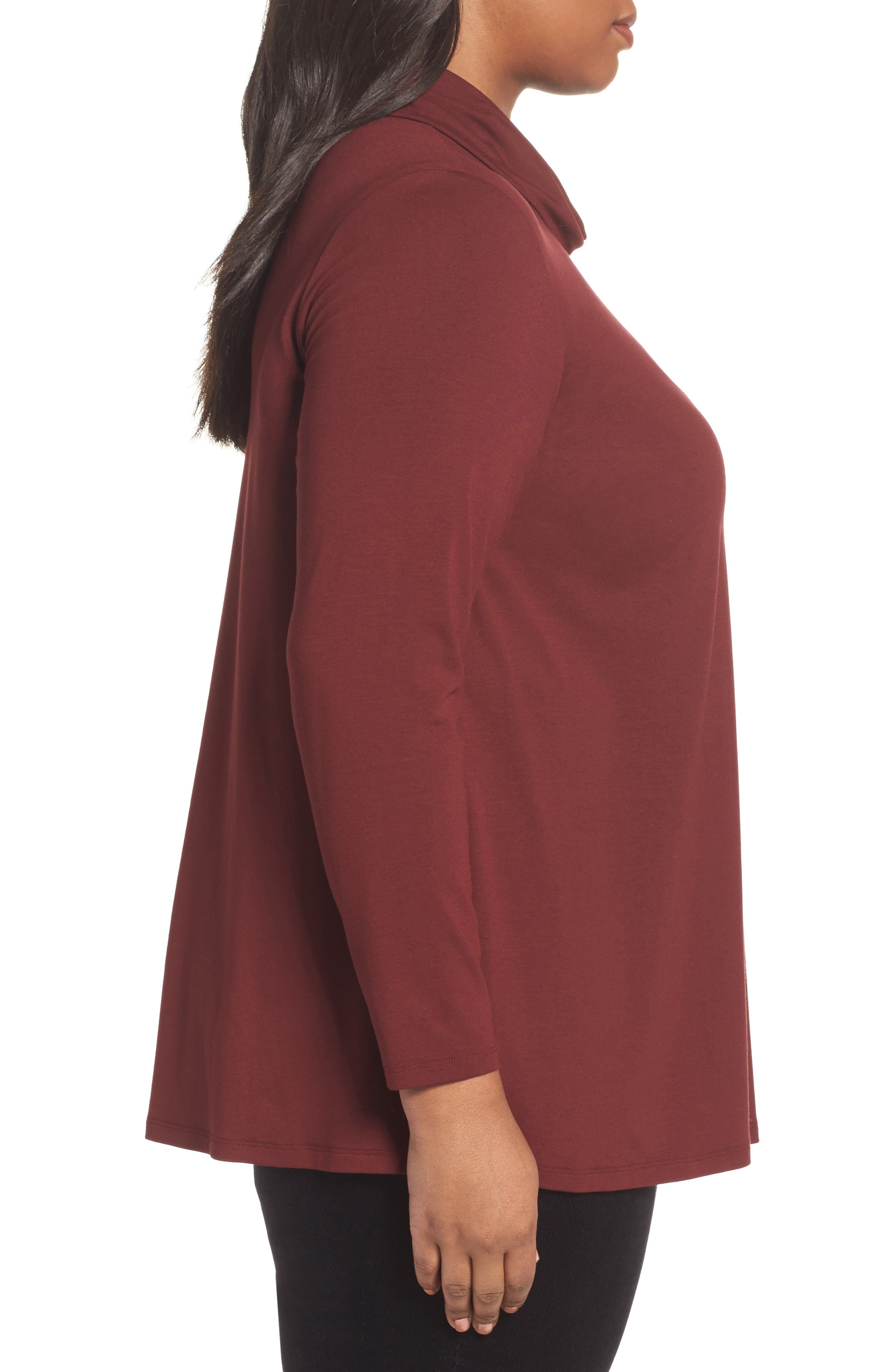 Alternate Image 3  - Eileen Fisher Turtleneck Jersey Top (Plus Size)