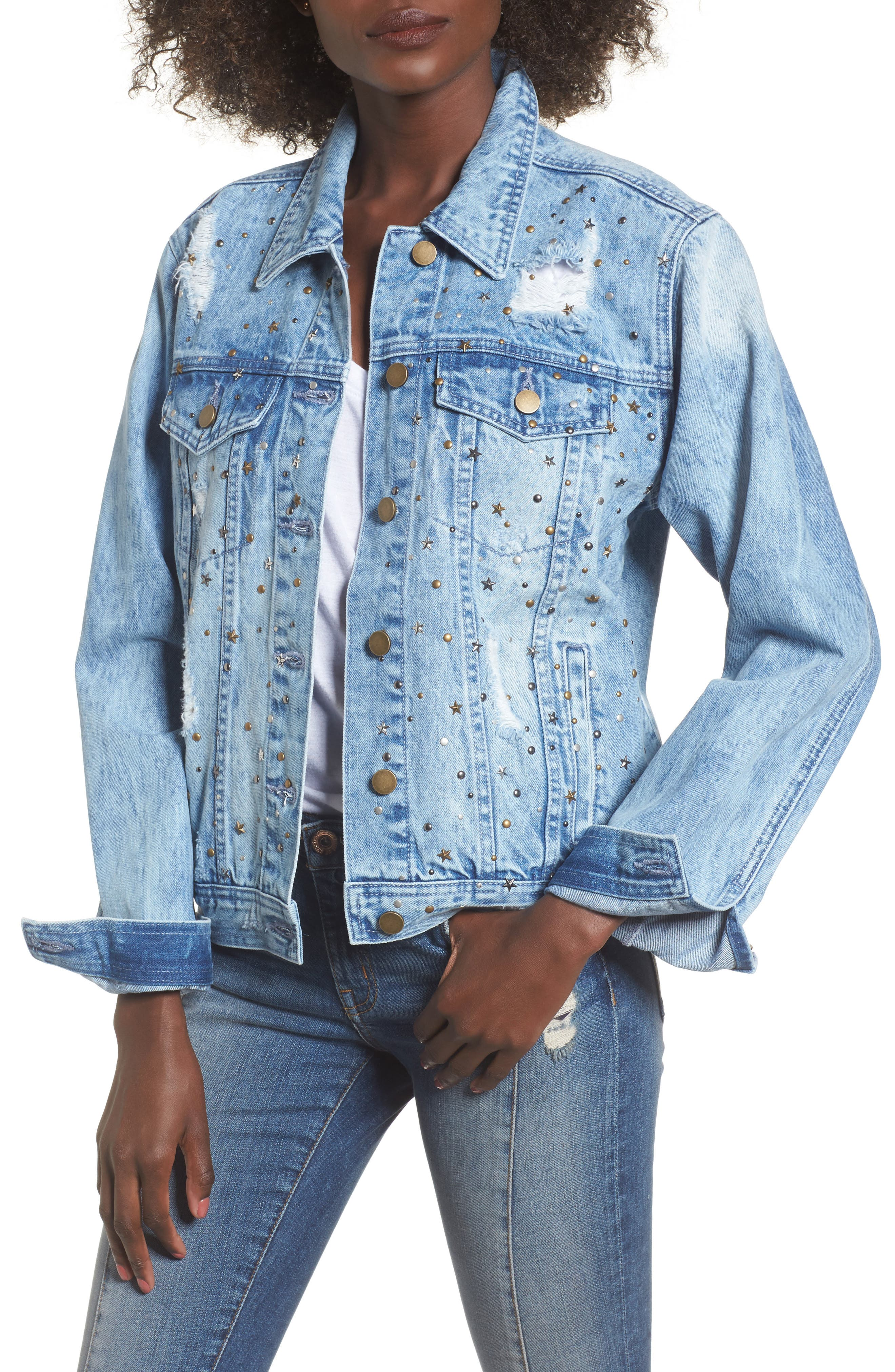 Star & Stud Denim Jacket,                             Main thumbnail 1, color,                             Blue