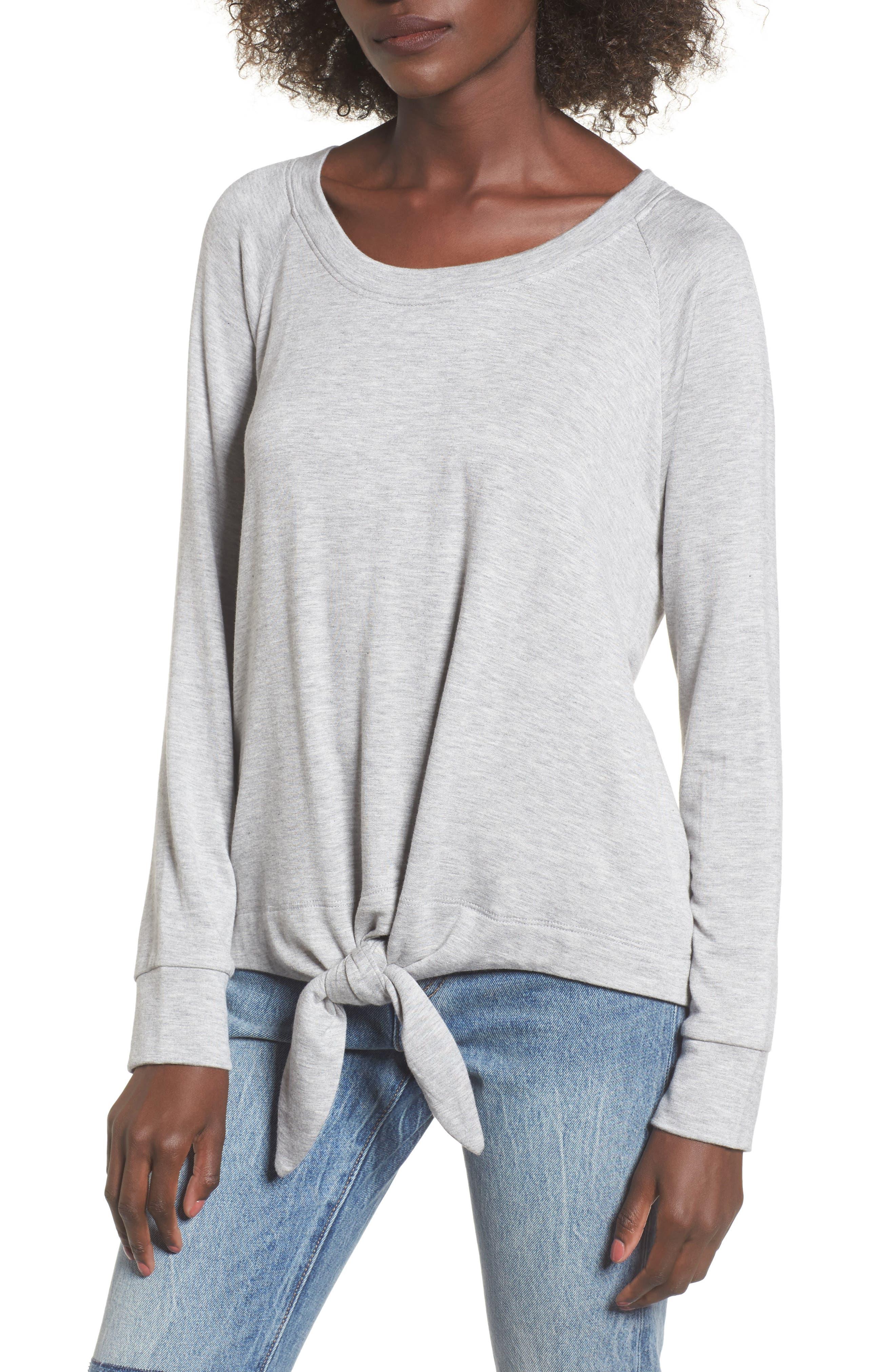 Tie Front Sweatshirt,                         Main,                         color, Heather Grey