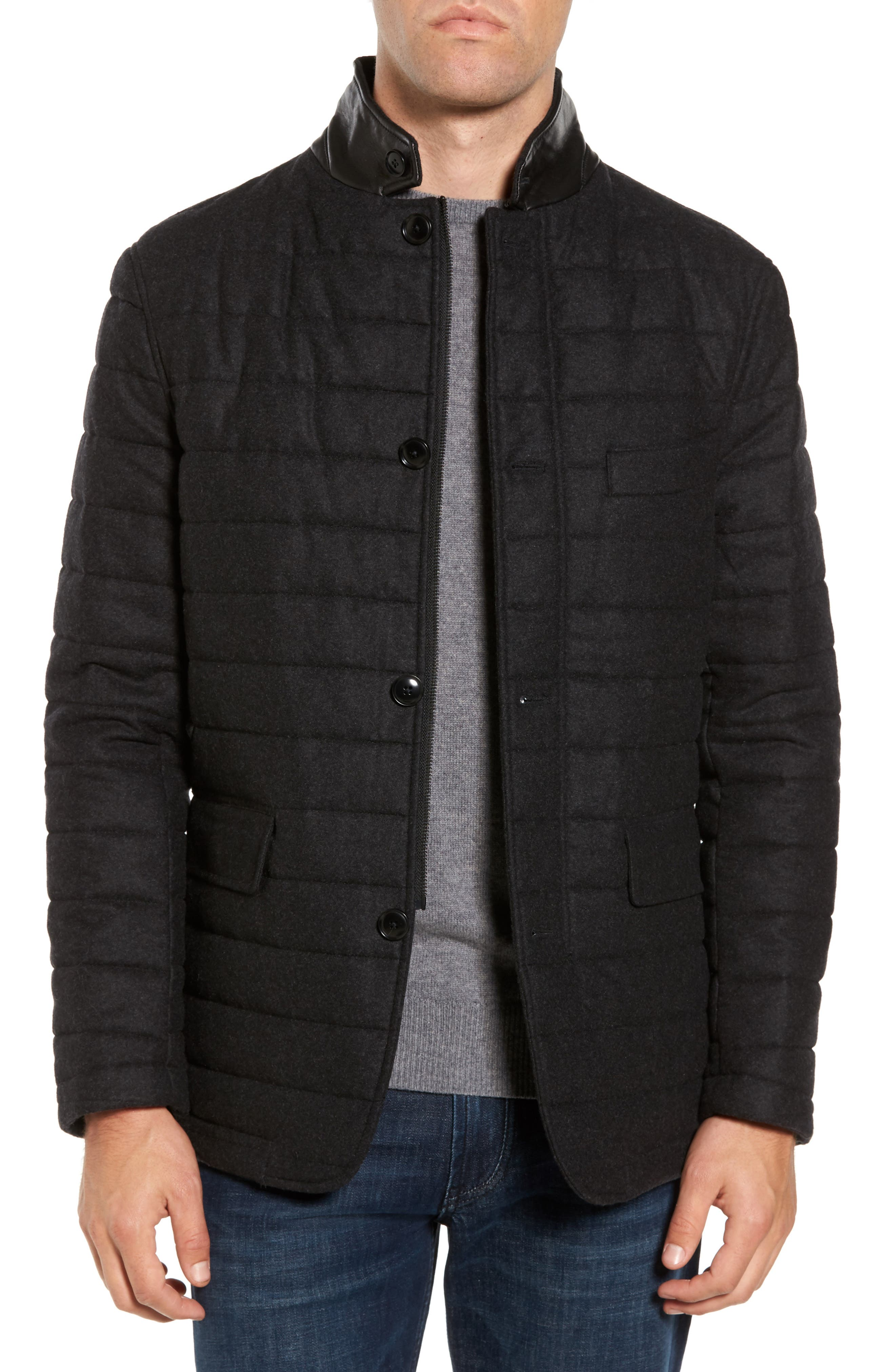 Leighton Place Padded Field Coat,                             Main thumbnail 1, color,                             Coal