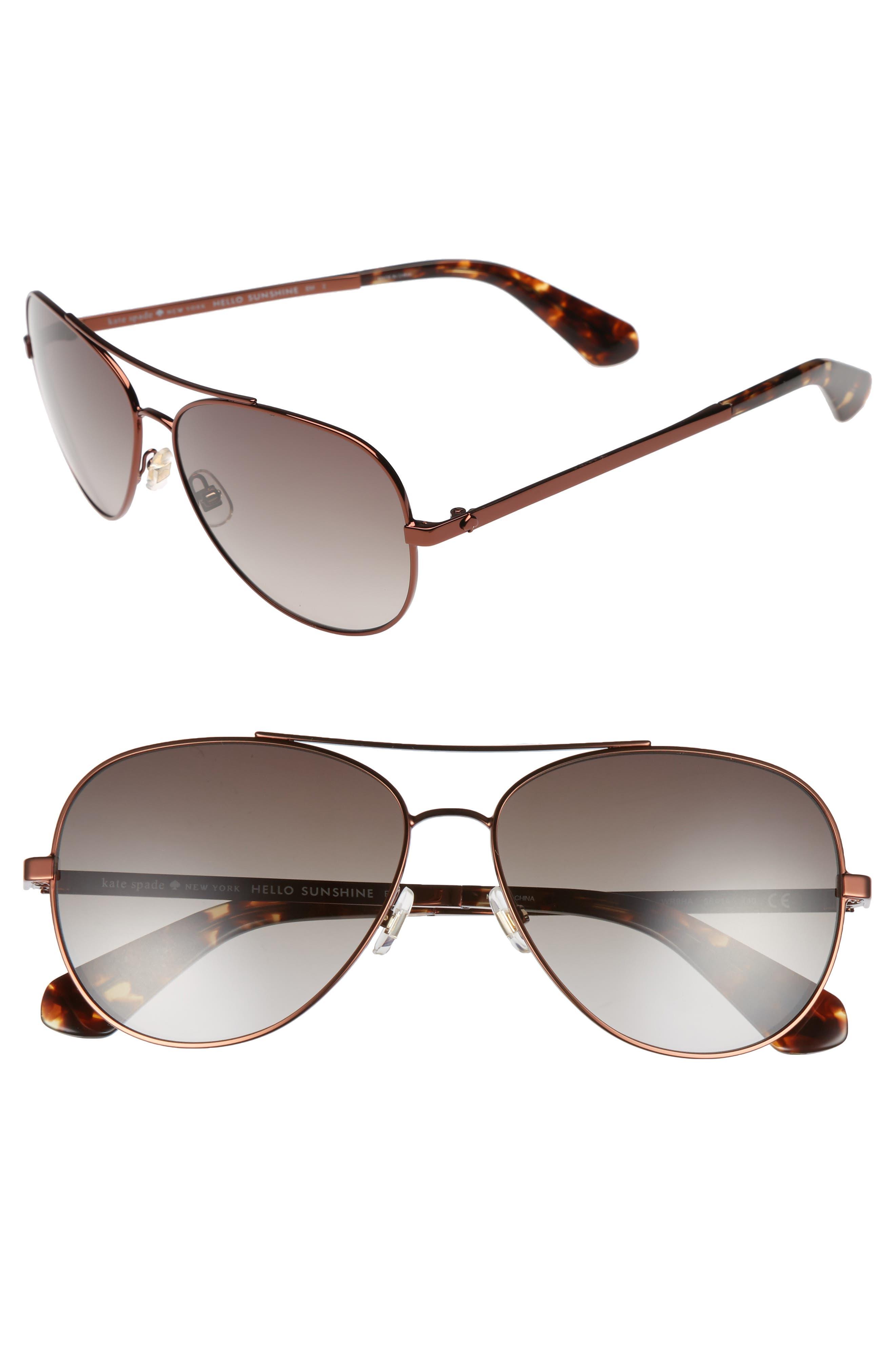 avaline 58mm aviator sunglasses,                         Main,                         color, Brown Havana