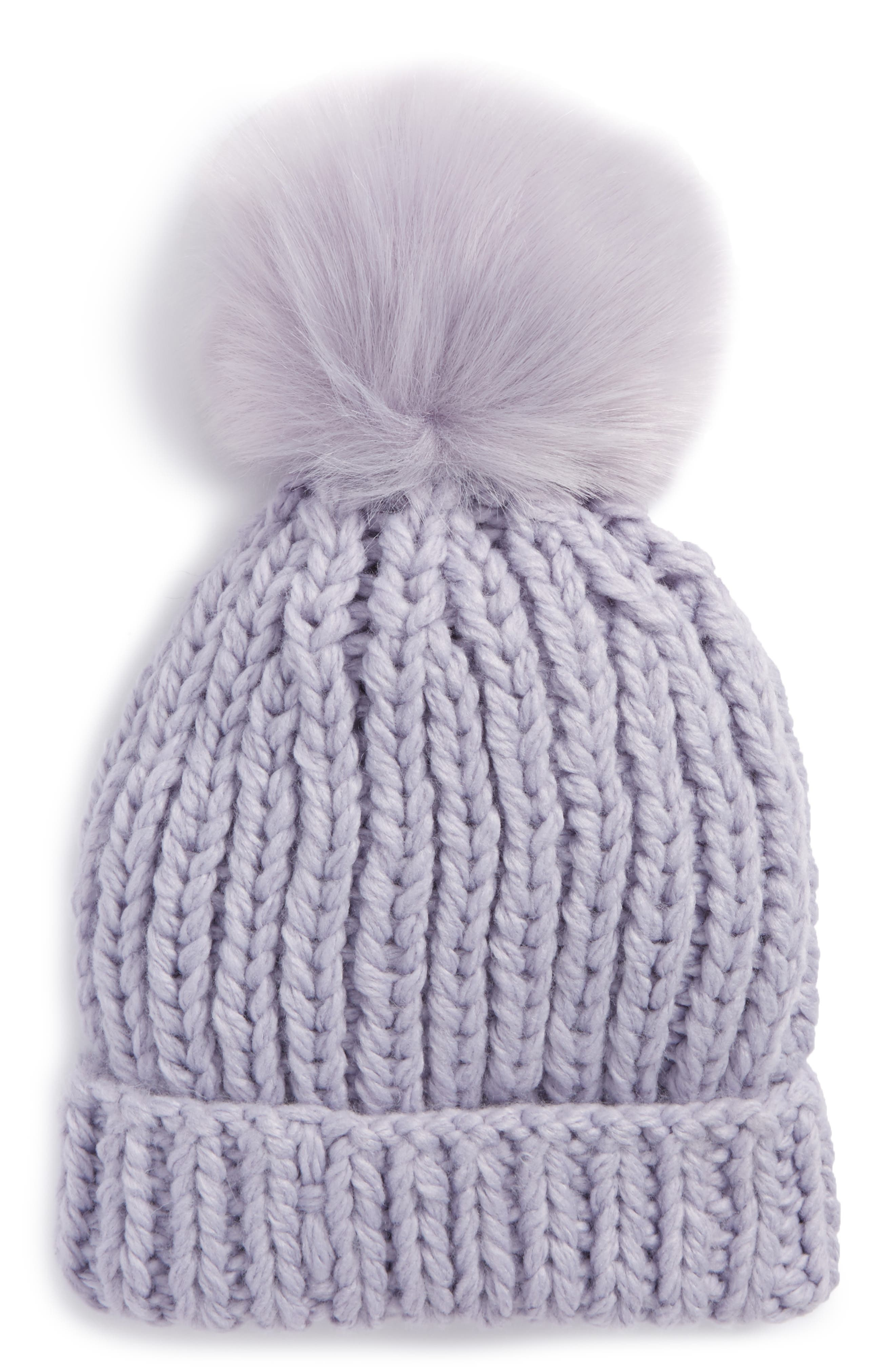 Free People Happy Trails Faux Fur Pom Beanie