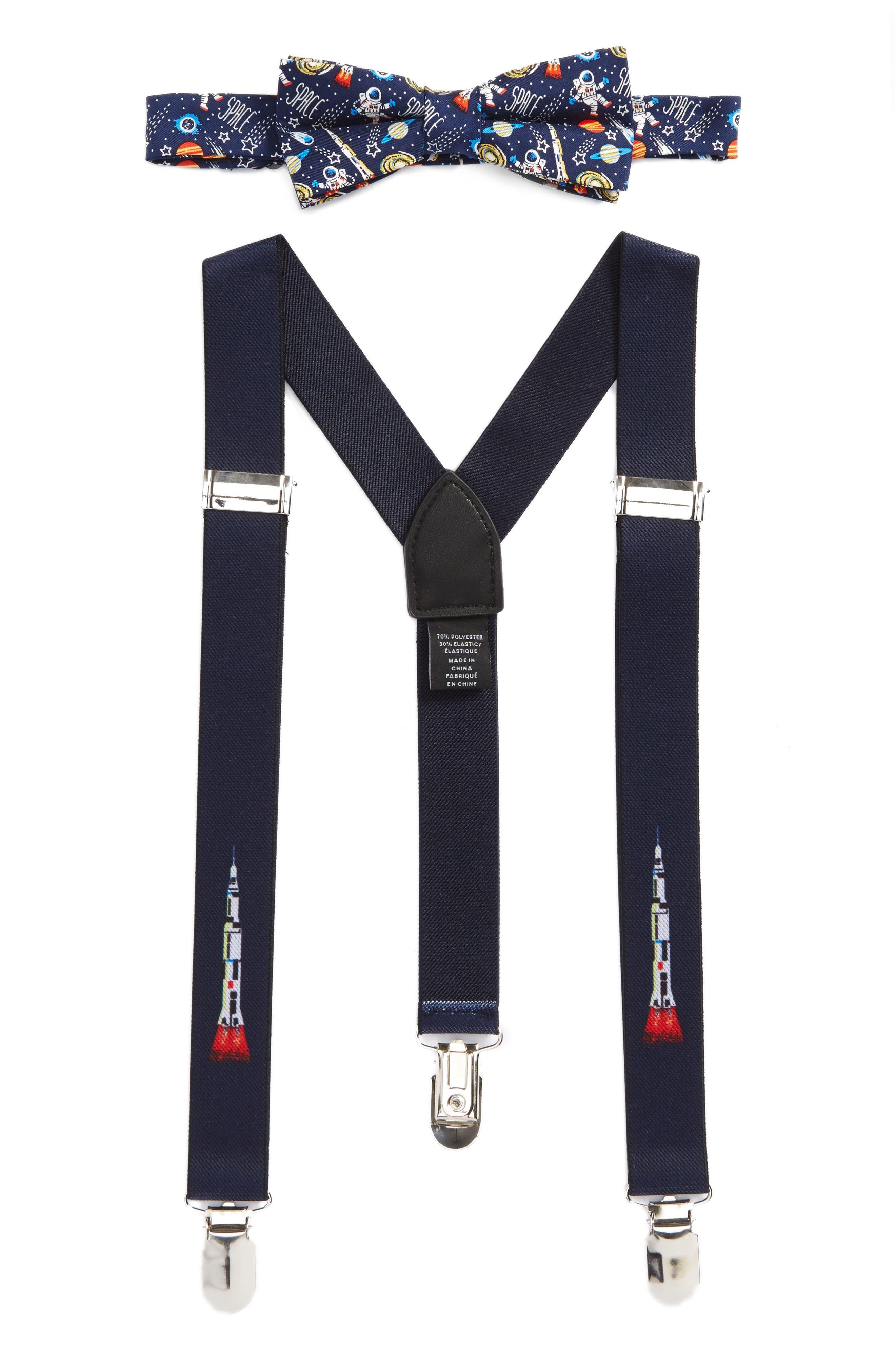 Space Ship Bow Tie & Suspenders Set,                         Main,                         color, Navy