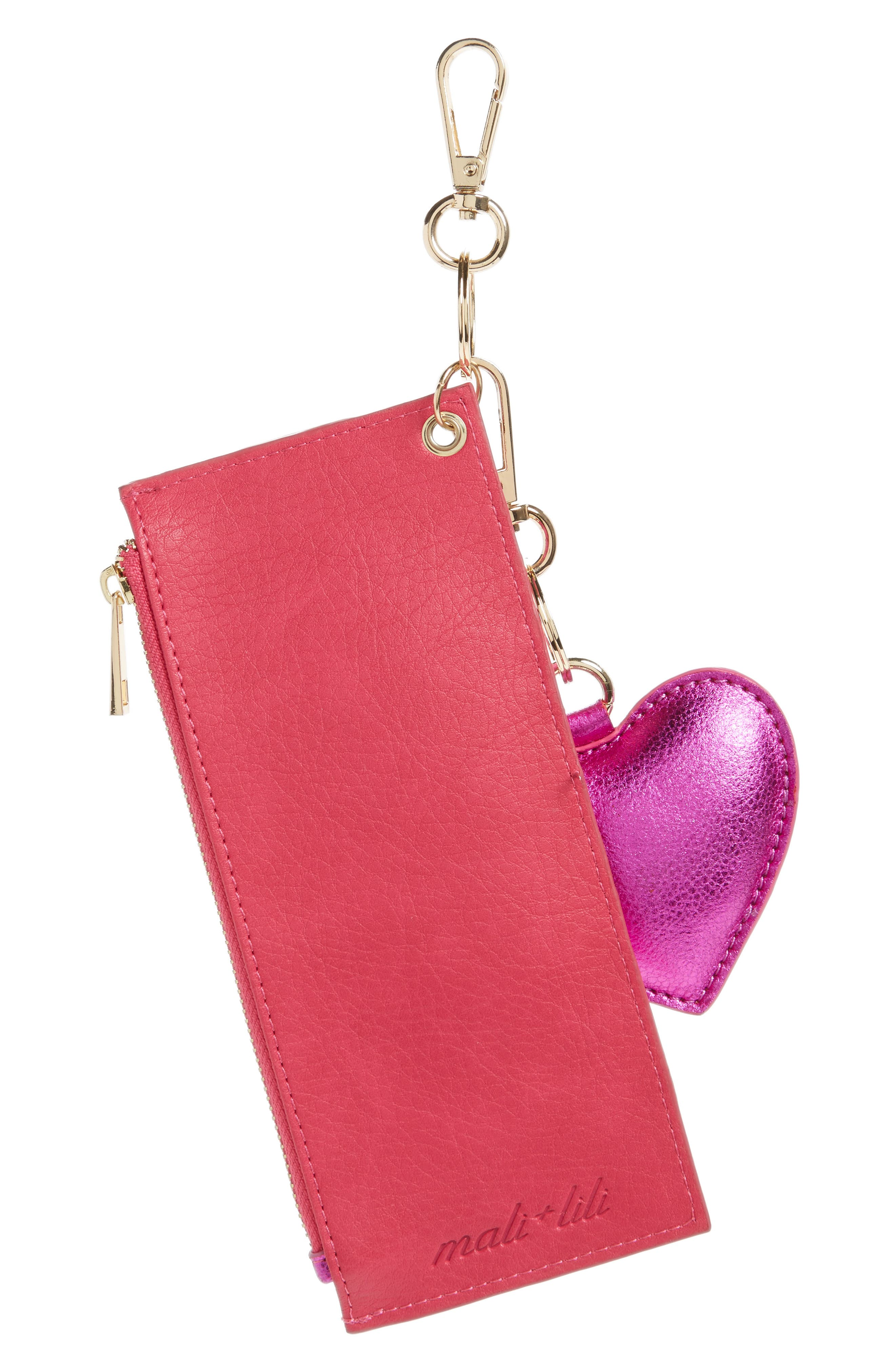 Mali + Lili Sydney Vegan Leather Card Case with Heart Charm,                             Alternate thumbnail 4, color,                             Hot Pink Metallic