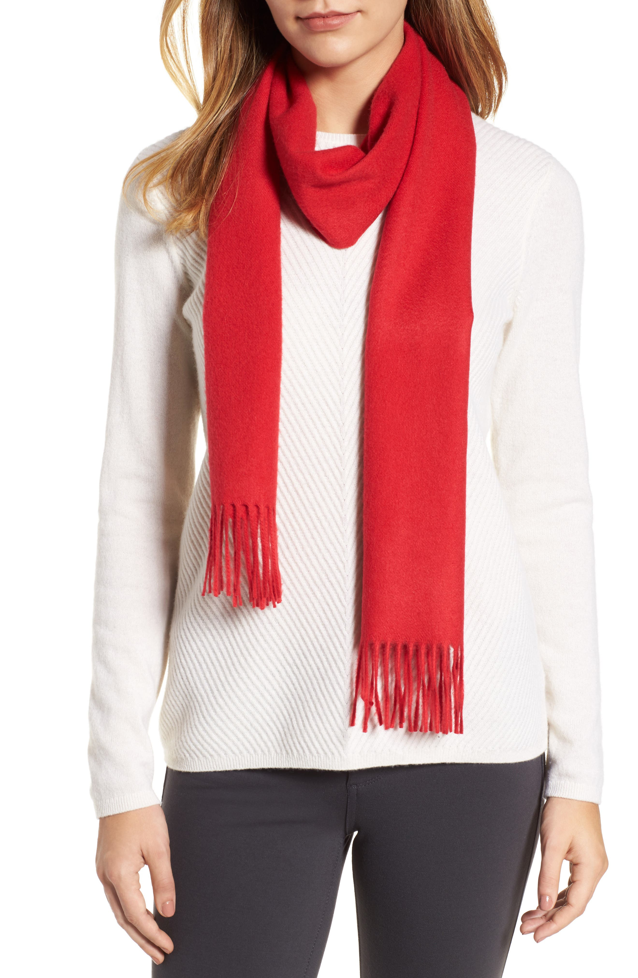 Main Image - Nordstrom Solid Woven Cashmere Scarf