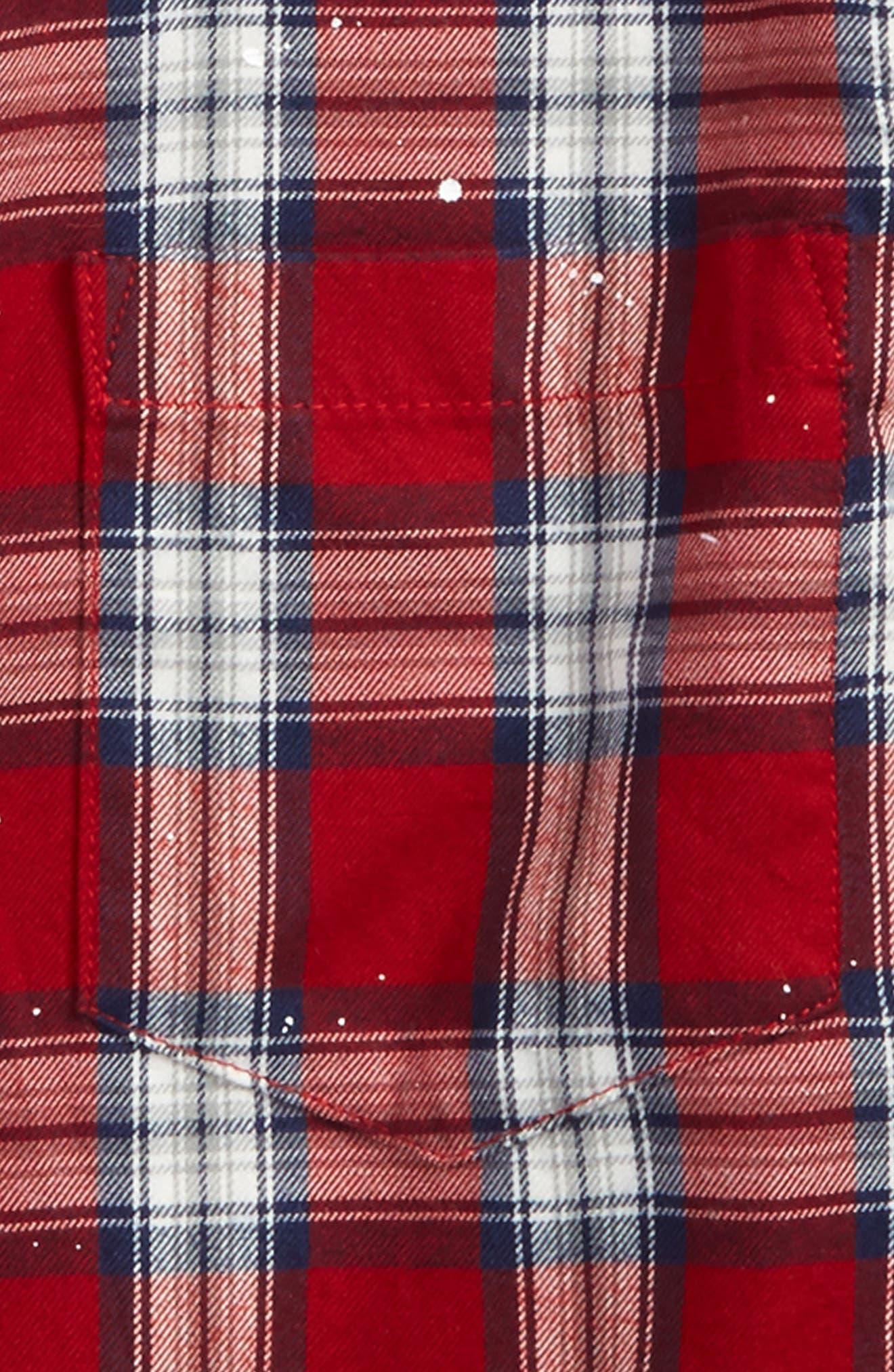 Splattered Plaid Woven Shirt,                             Alternate thumbnail 2, color,                             Red Plaid Paint Splatters