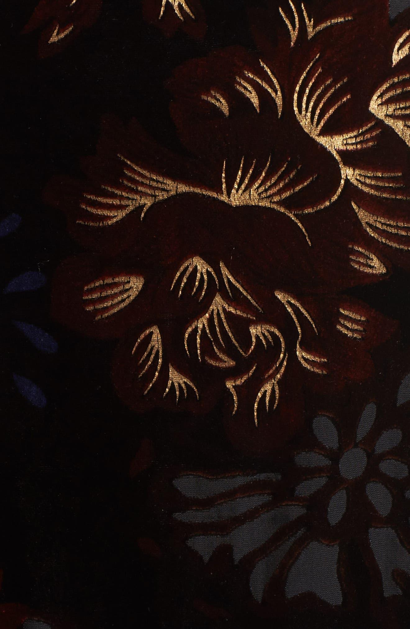 Romantic Burnout Wrap Dress,                             Alternate thumbnail 5, color,                             Black Brick