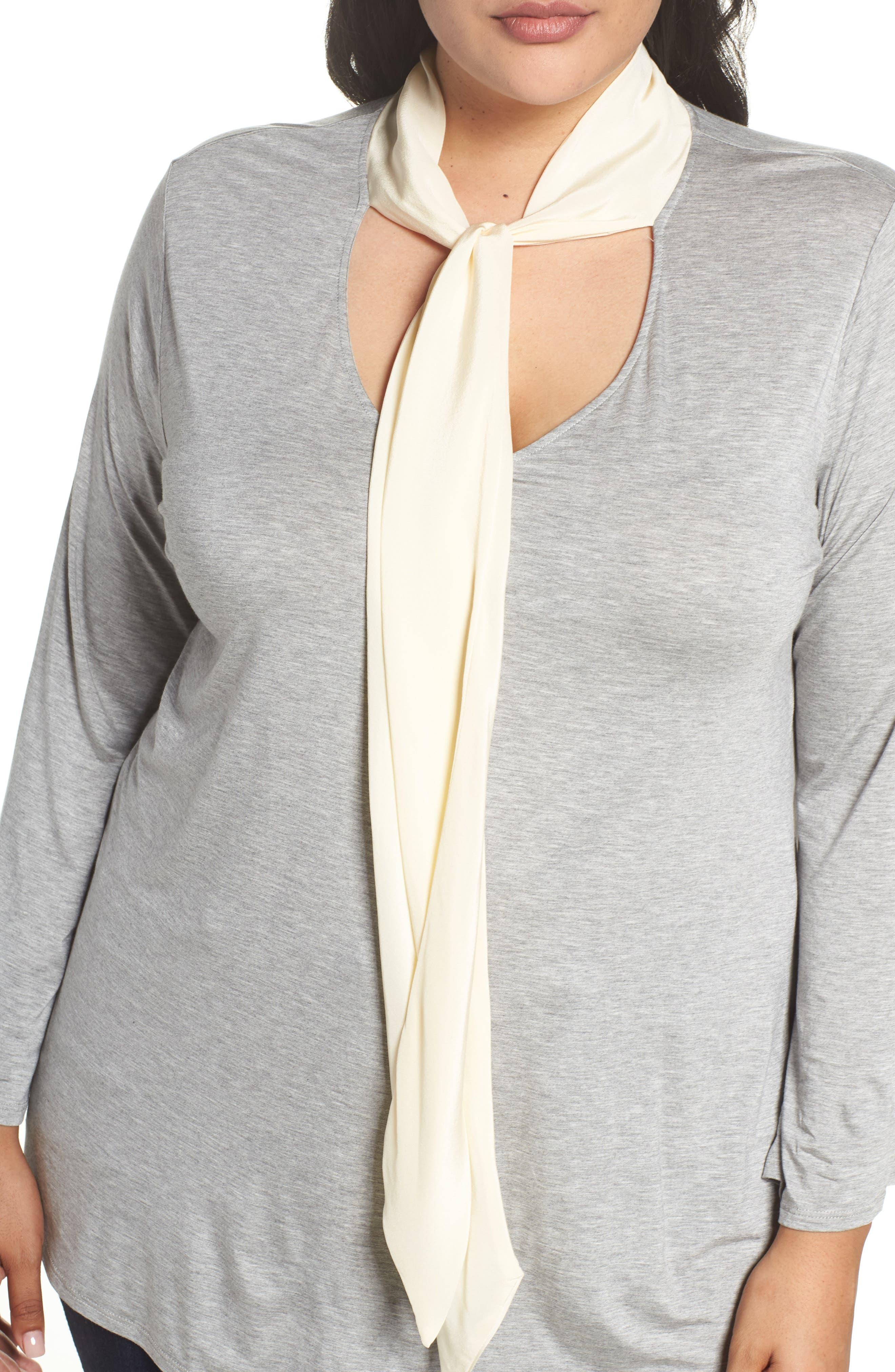 Alternate Image 4  - Three Dots Tie Neck Jersey Top (Plus Size)