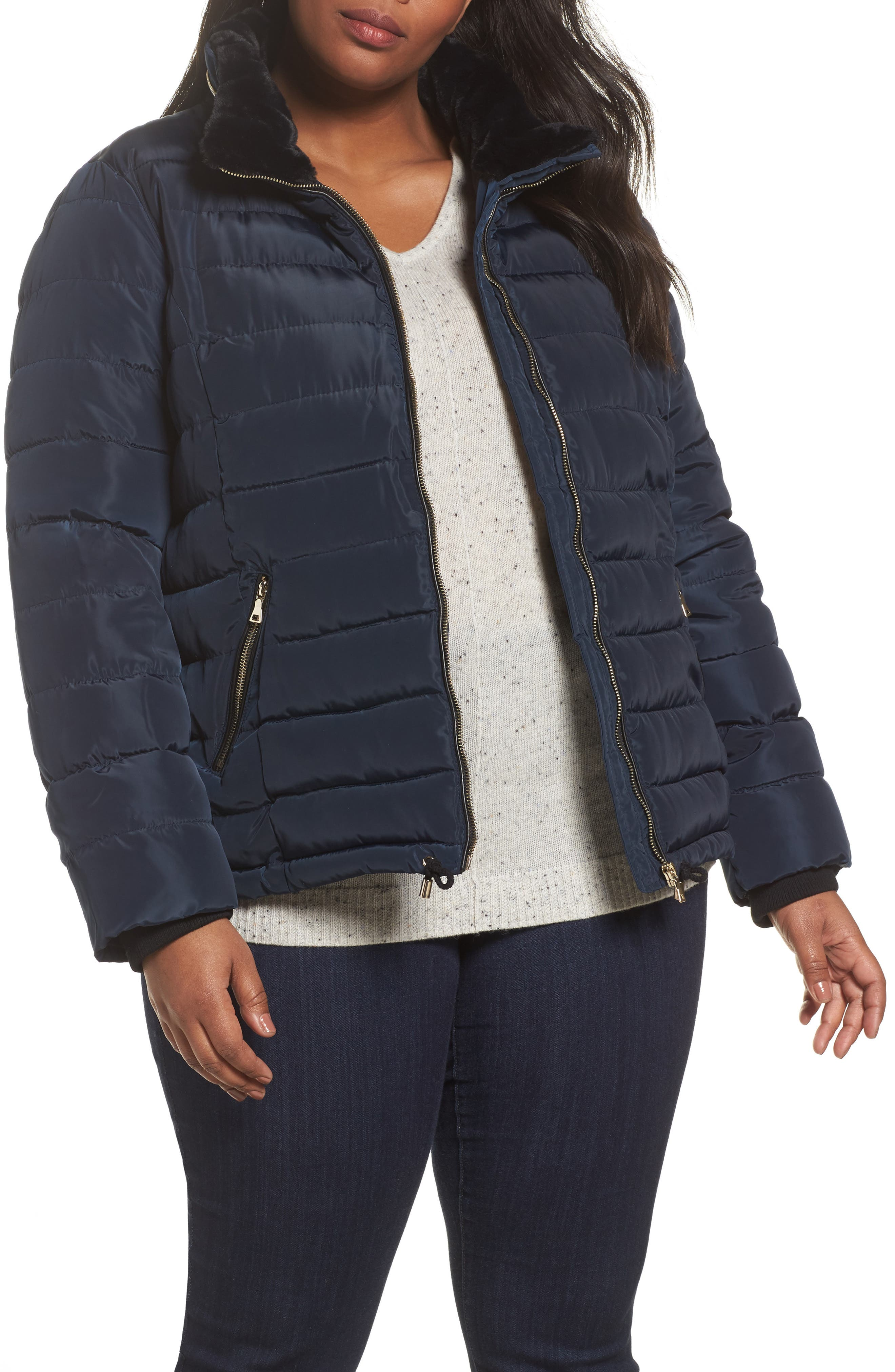 Faux Fur Trim Hooded Puffer Jacket,                         Main,                         color, Navy