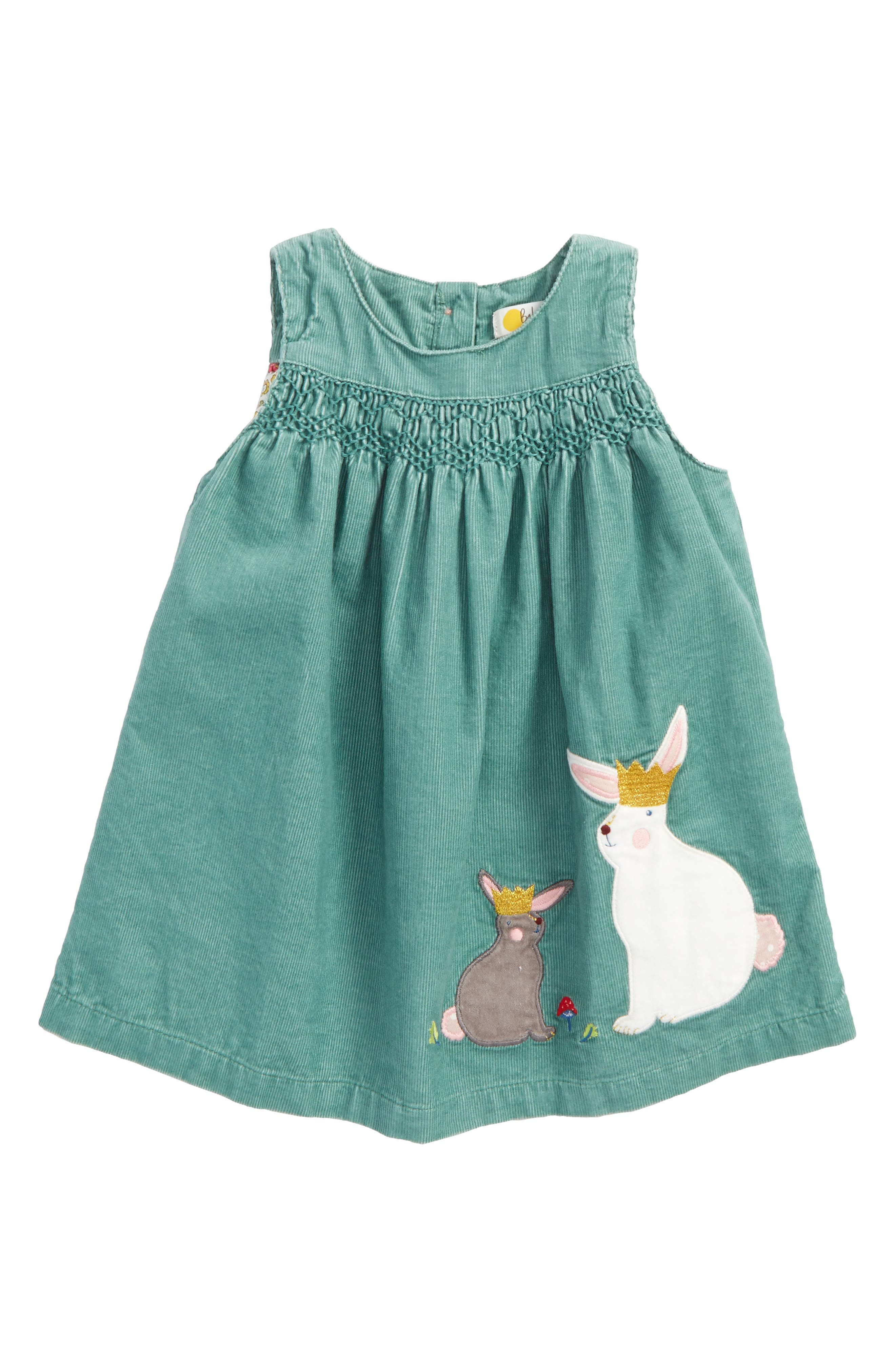 Main Image - Mini Boden Fairy Tale Appliqué Corduroy Pinafore (Baby Girls)