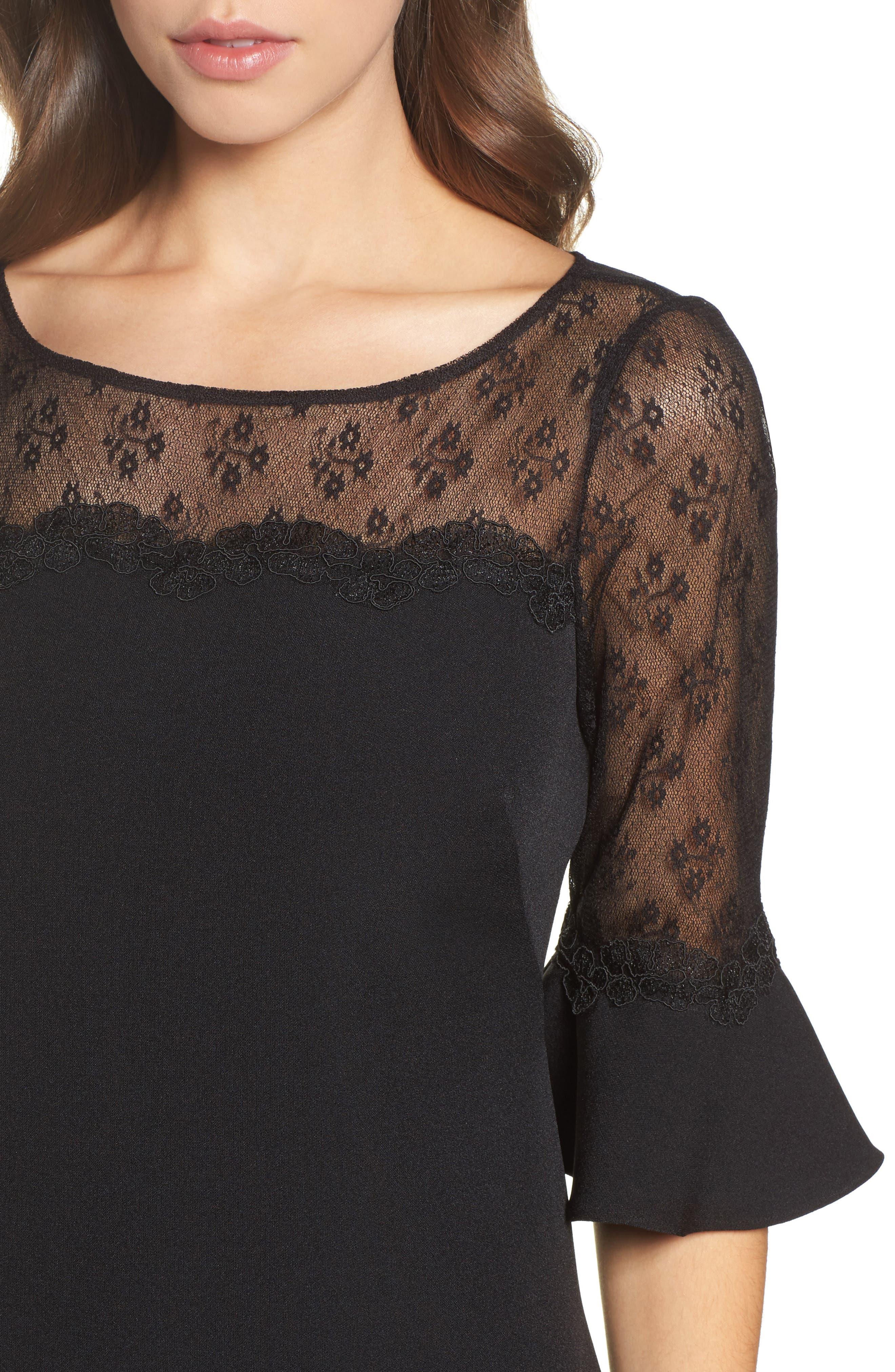 Lace & Crepe Sheath Dress,                             Alternate thumbnail 4, color,                             Black