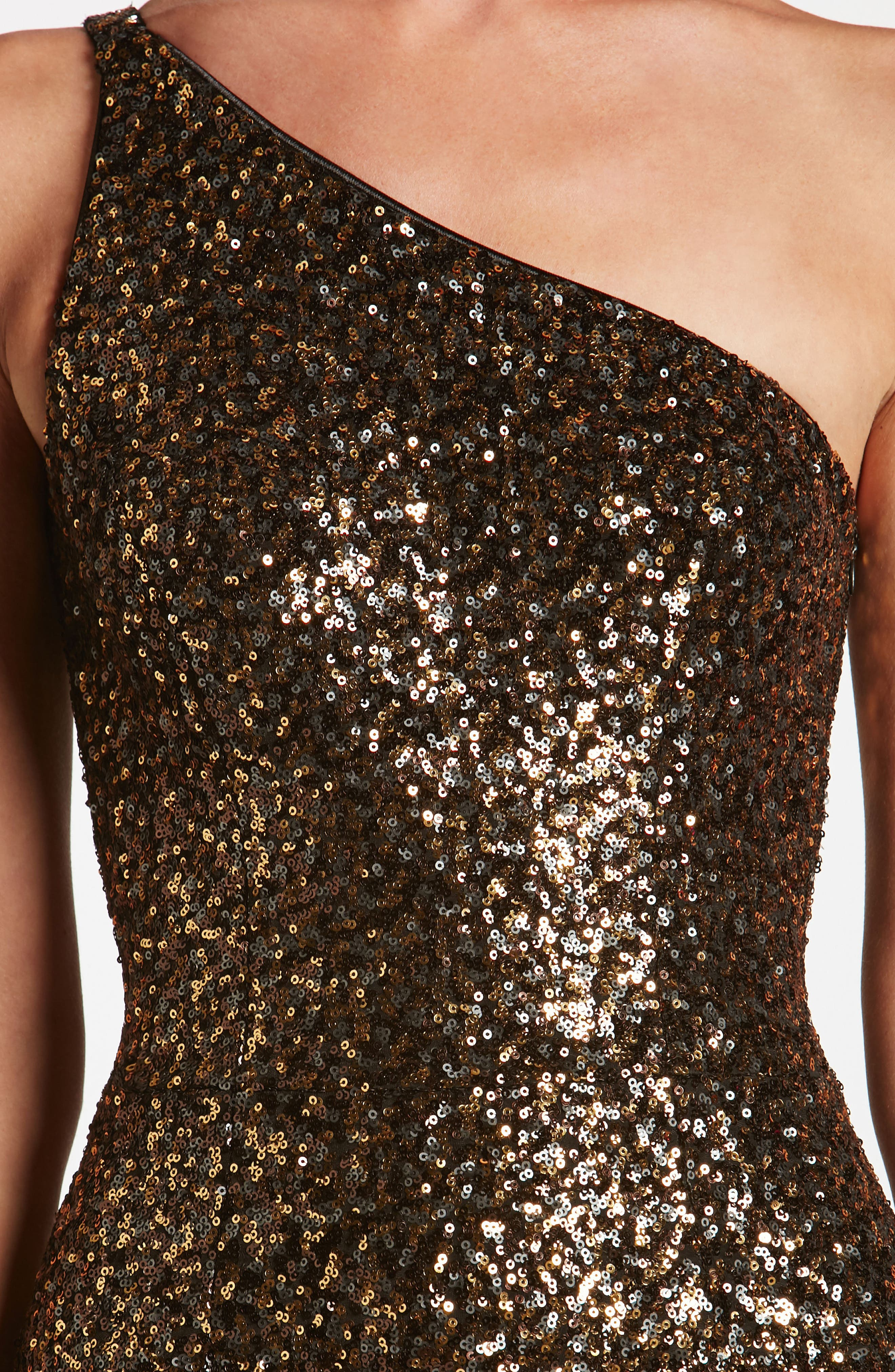 Cher One-Shoulder Sequin Body-Con Dress,                             Alternate thumbnail 5, color,                             Antique Gold
