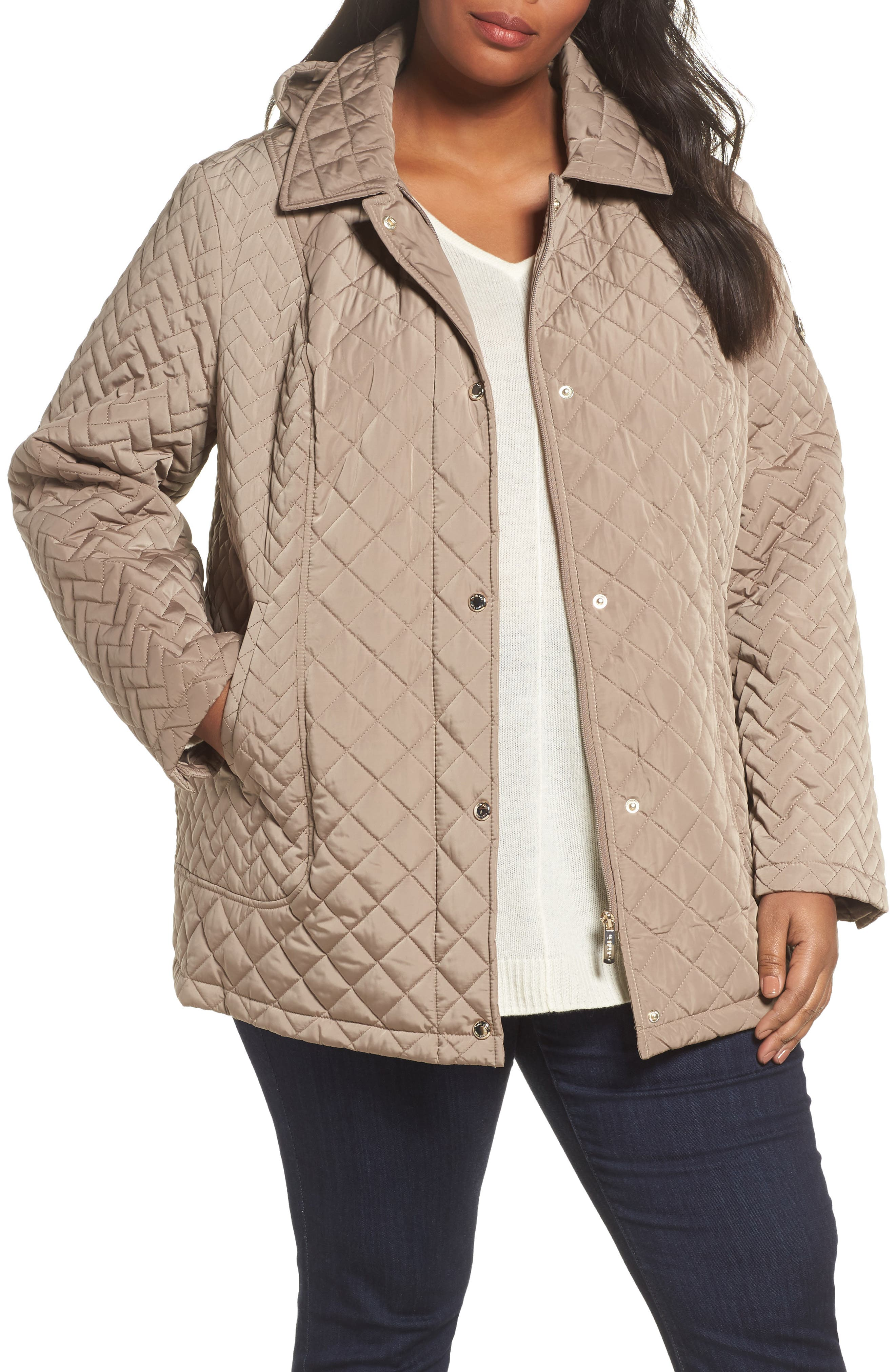 Main Image - Calvin Klein Water Resistant Diamond Quilted Jacket (Plus Size)