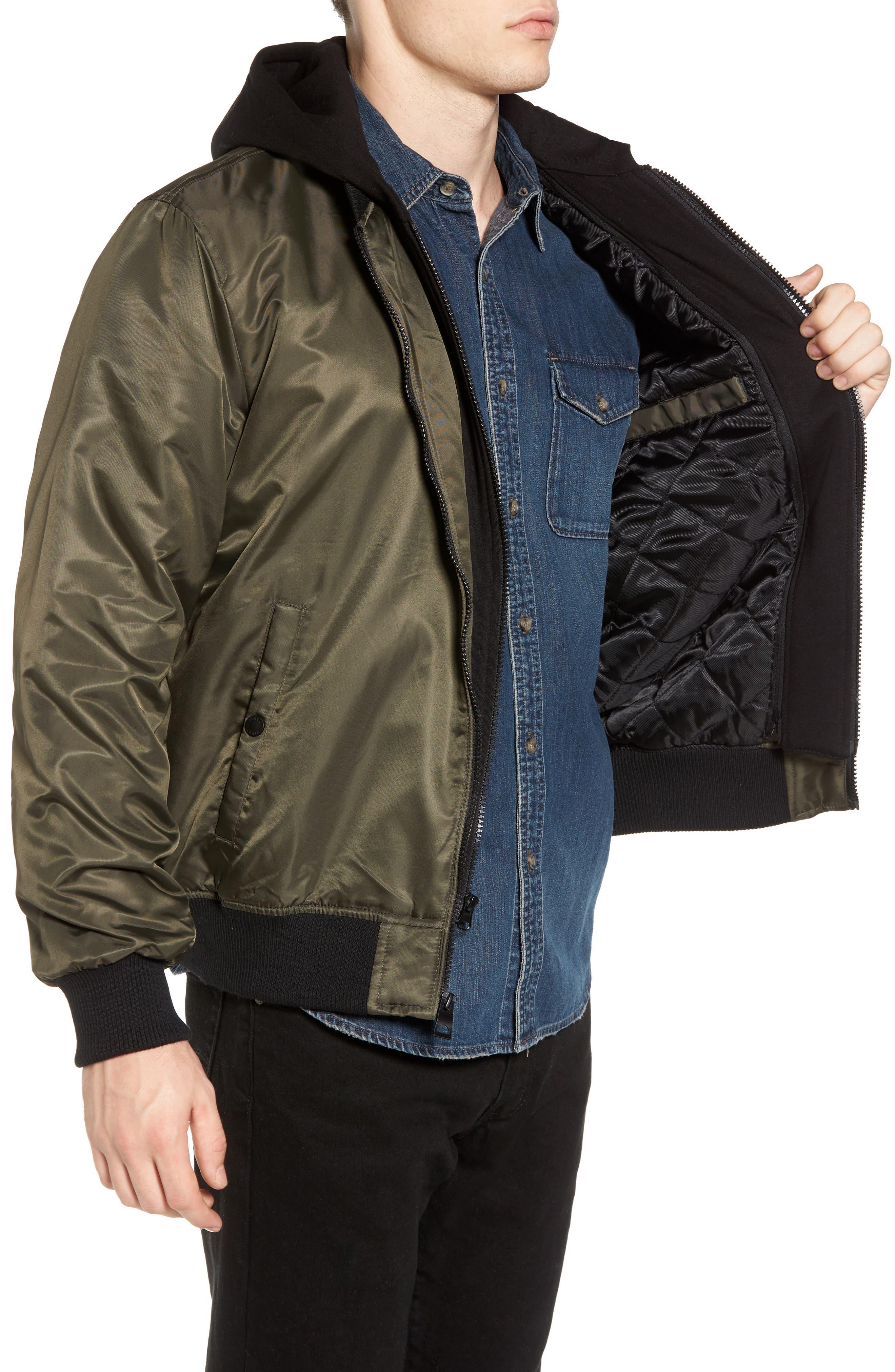 Alternate Image 3  - Black Rivet Water Resistant Hooded Satin Flight Jacket