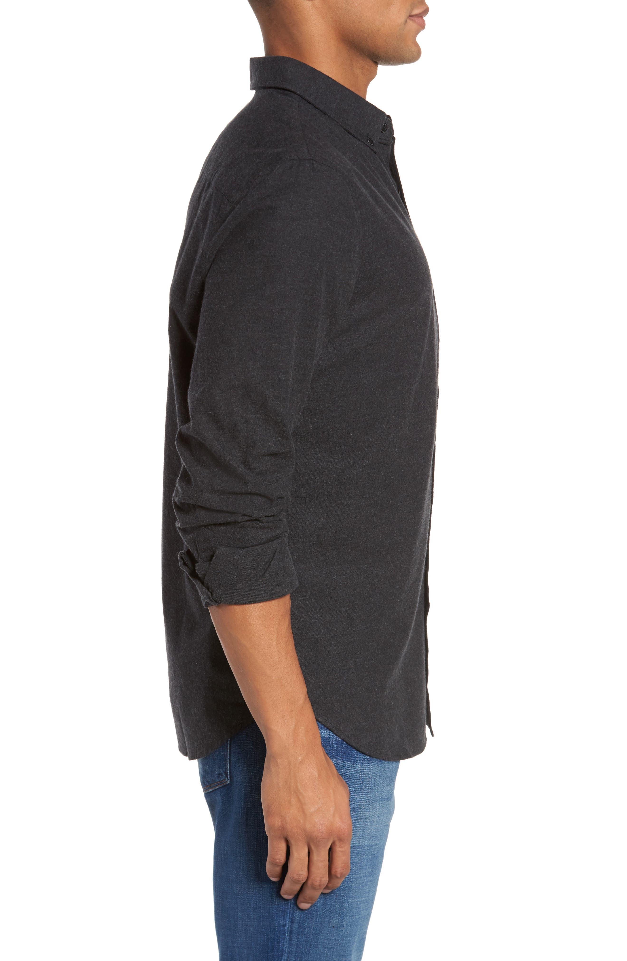 Caleb Slim Fit Sport Shirt,                             Alternate thumbnail 3, color,                             Heather Dark Charcoal