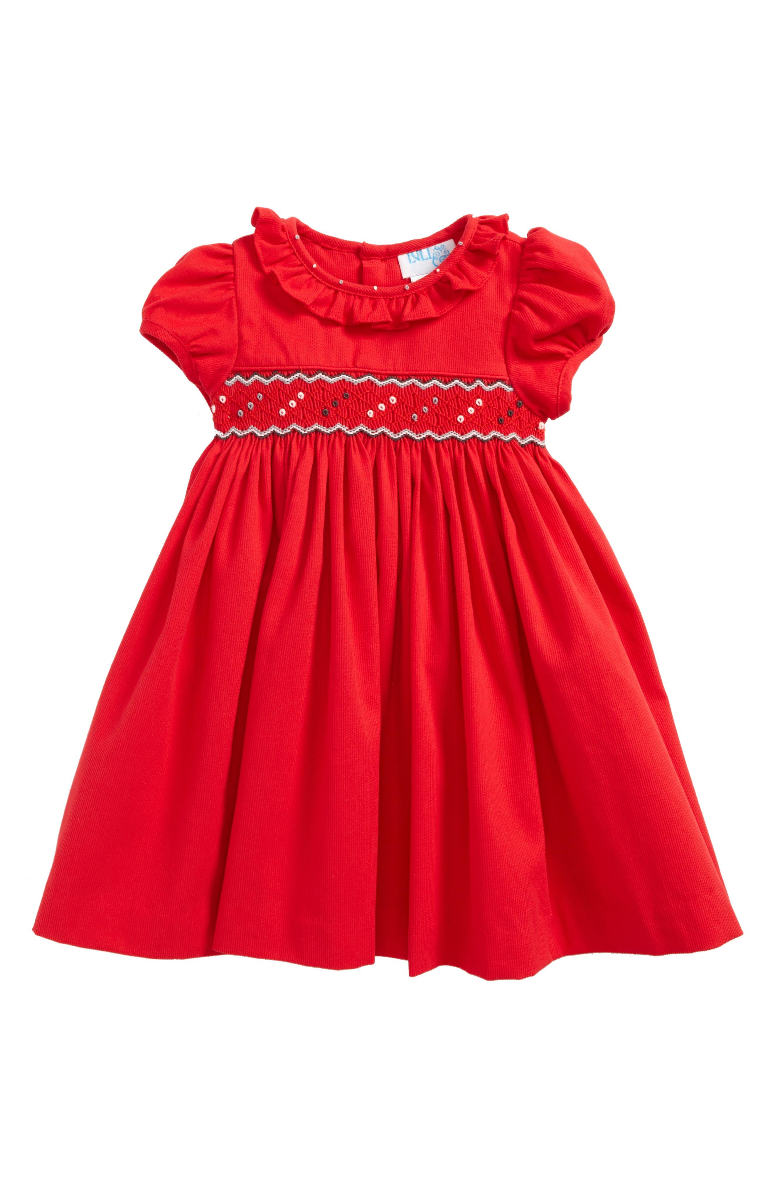 Smocked Dress,                             Main thumbnail 1, color,                             Red