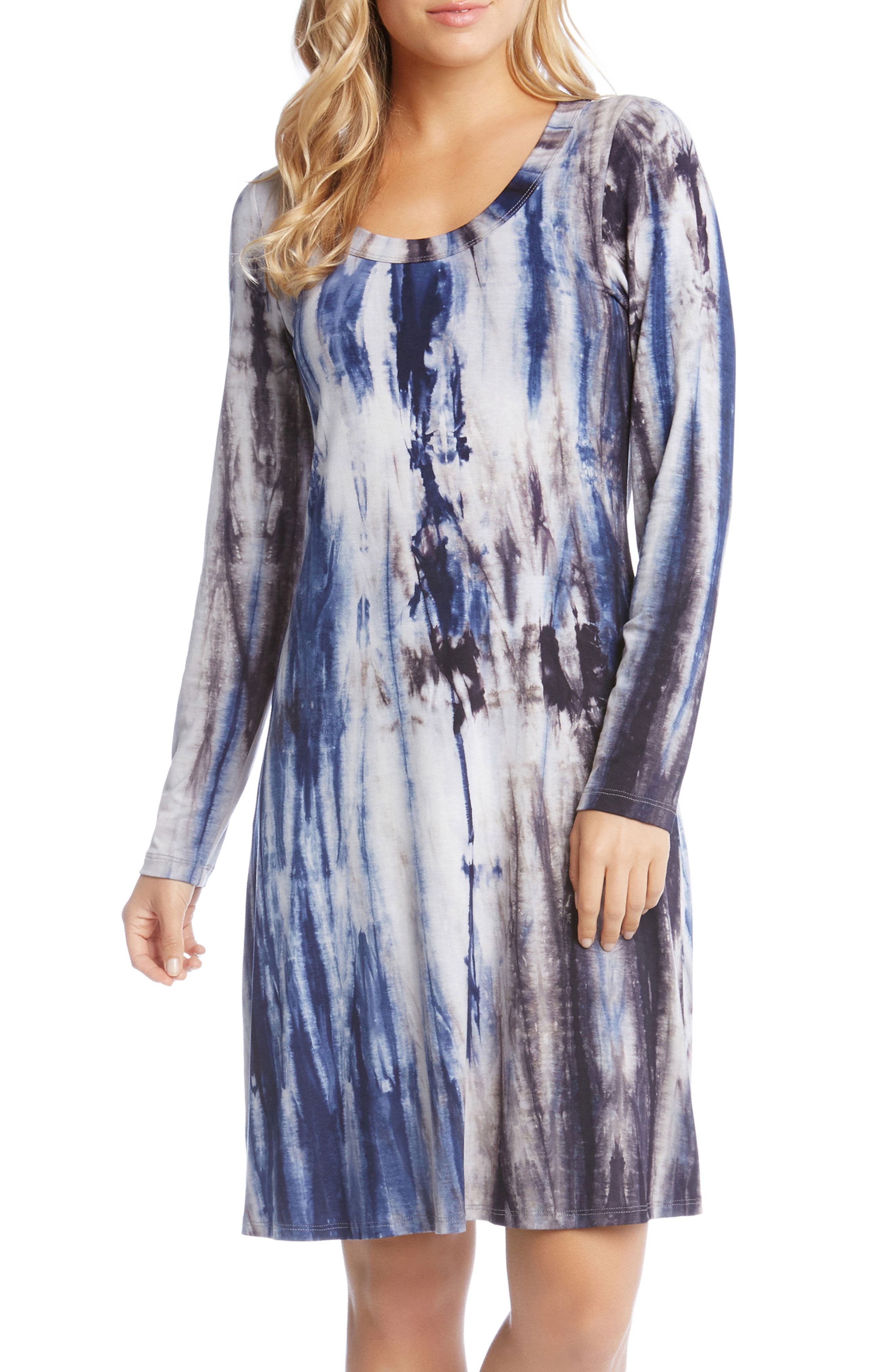 Scooped Neck A-Line Dress,                         Main,                         color, Tie-Dye