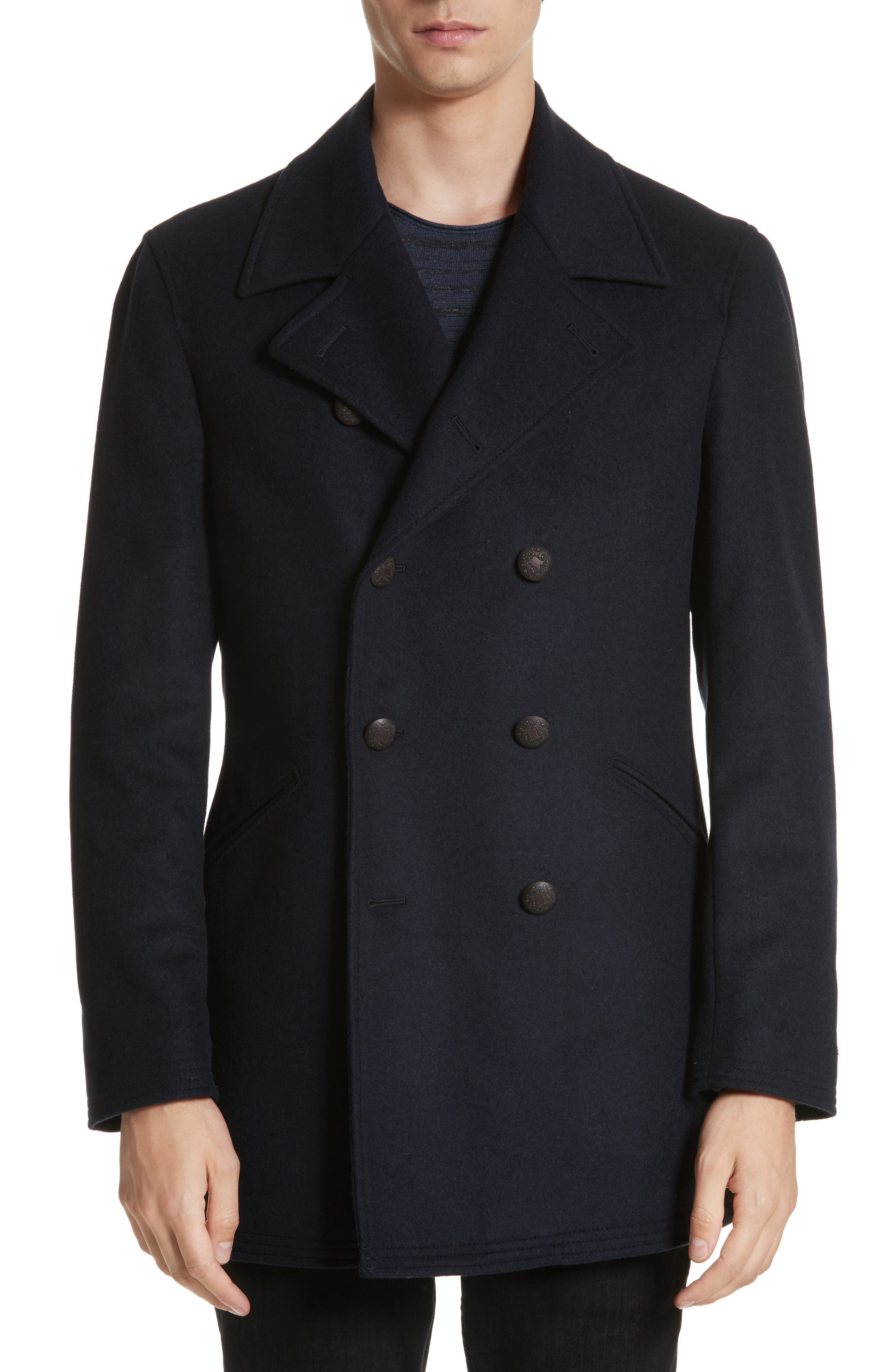 Hook Wool Blend Topcoat,                         Main,                         color, Navy