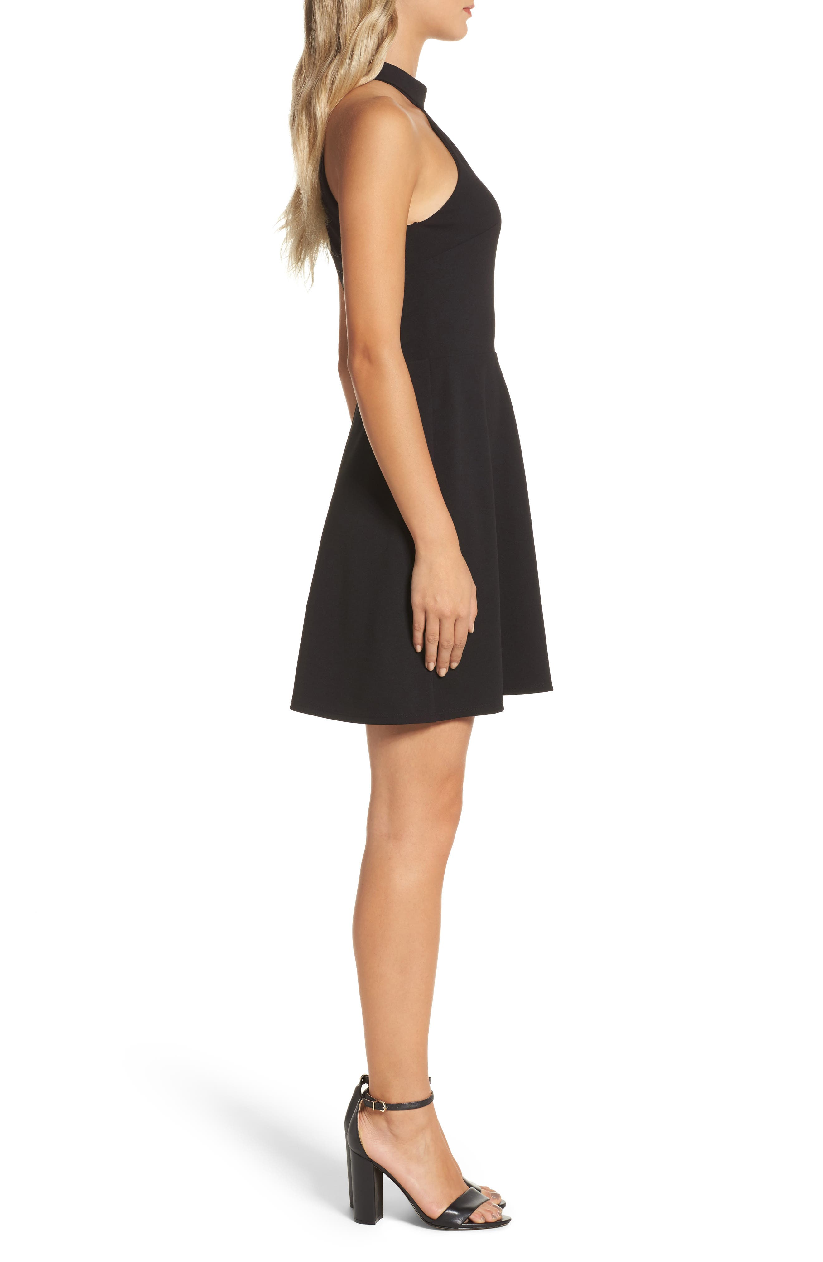 Mock Neck Fit & Flare Dress,                             Alternate thumbnail 3, color,                             Black
