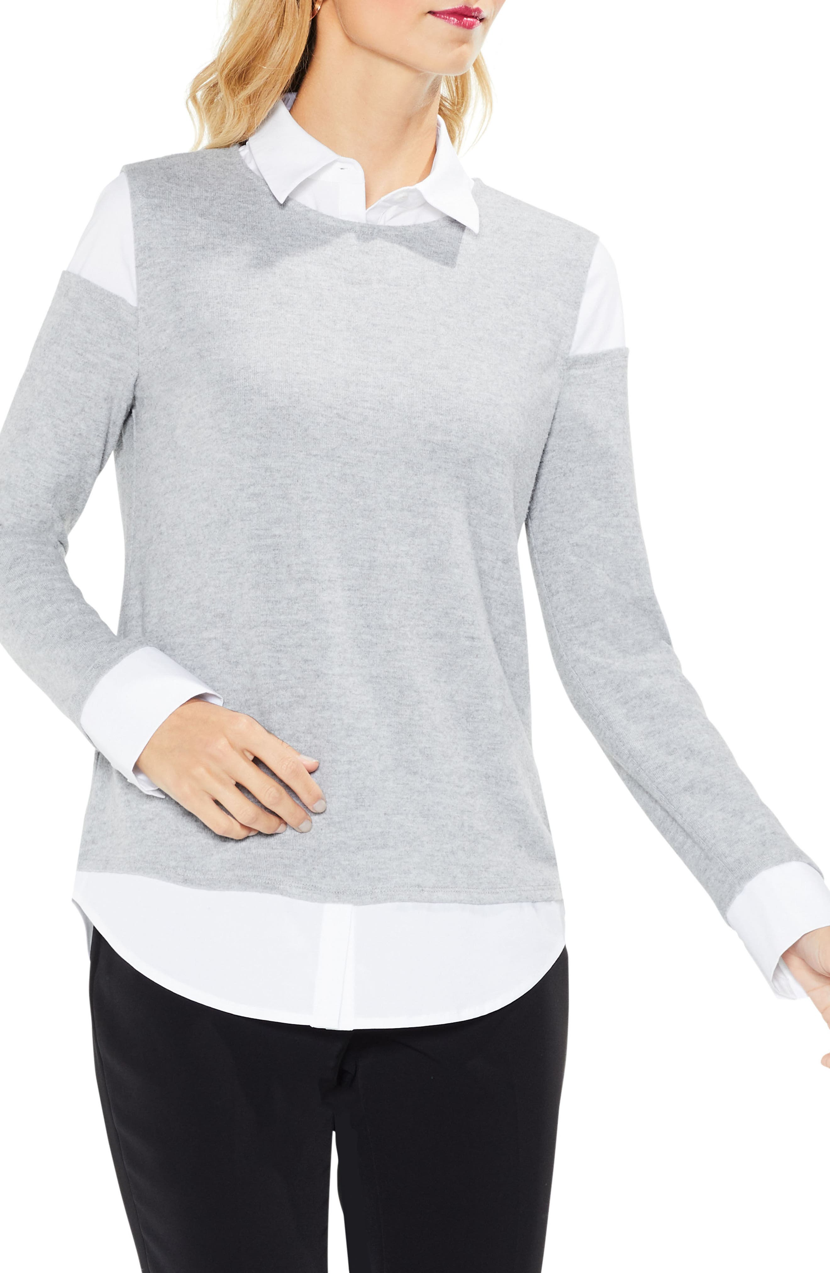 Alternate Image 1 Selected - Vince Camuto Mix Media Brushed Jersey Top