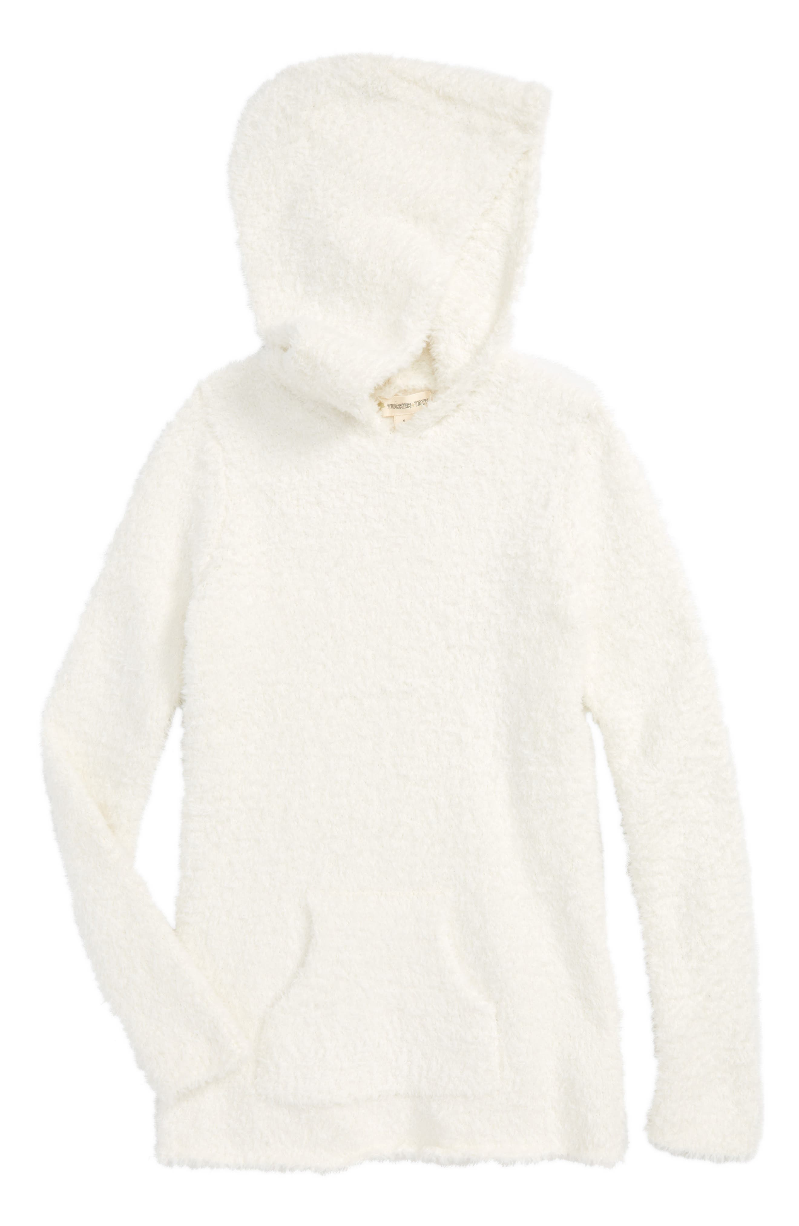 Teddy Yarn Hooded Tunic,                             Main thumbnail 1, color,                             Ivory Egret