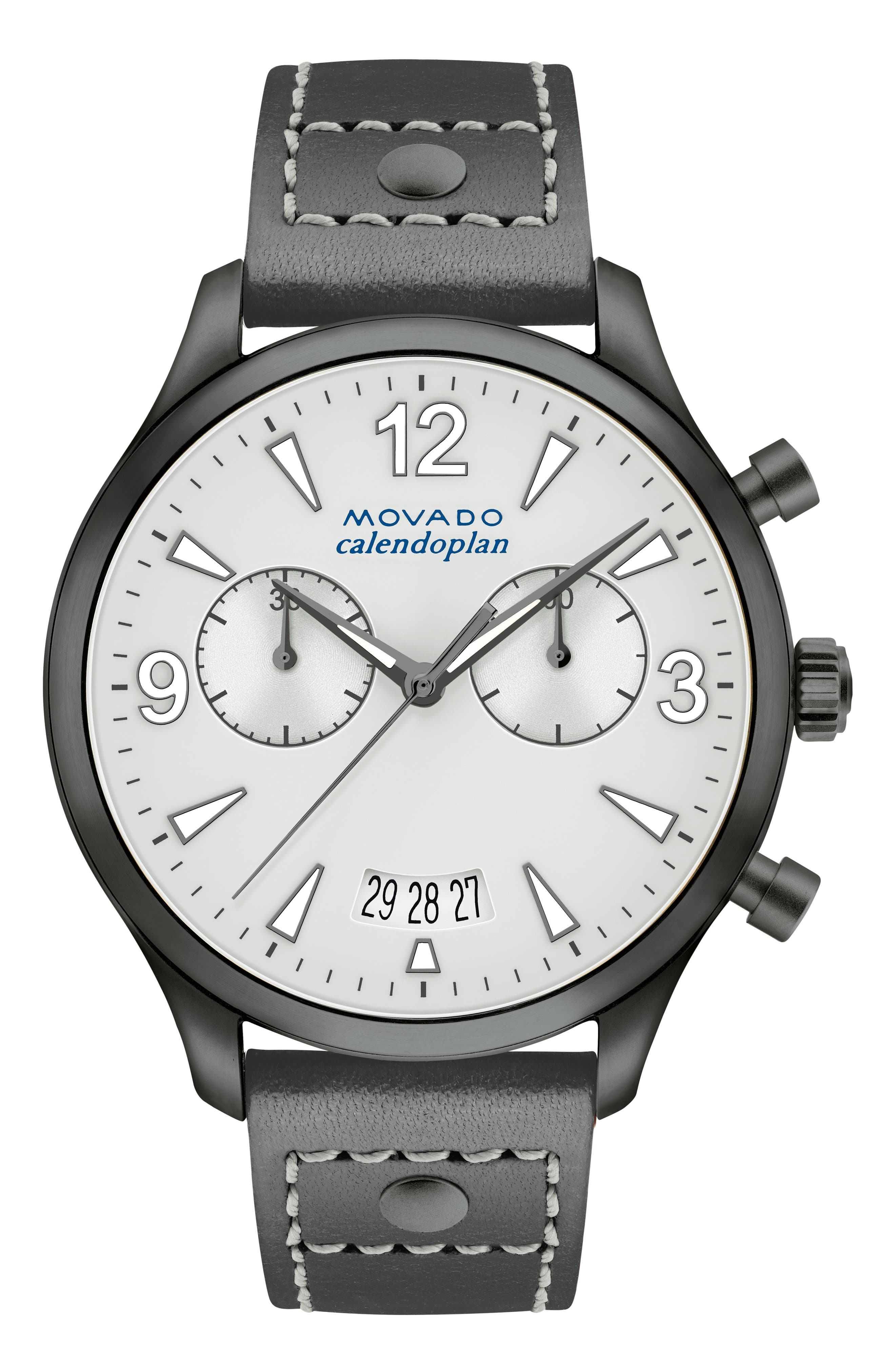 Heritage Calendoplan Chronograph Leather Strap Watch, 38mm,                             Main thumbnail 1, color,                             Grey