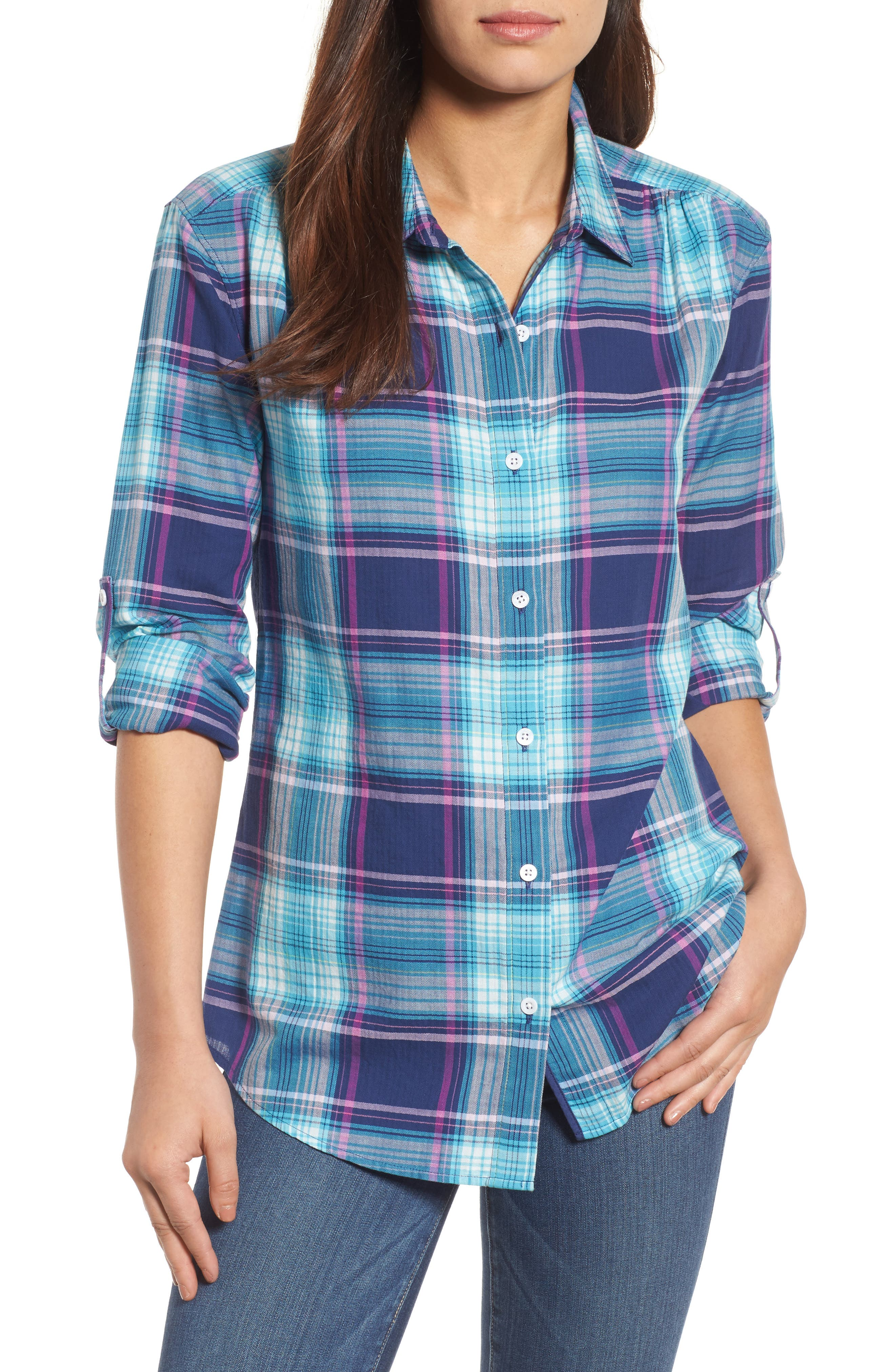Alternate Image 1 Selected - Tommy Bahama Play it Again Plaid Long Sleeve Shirt