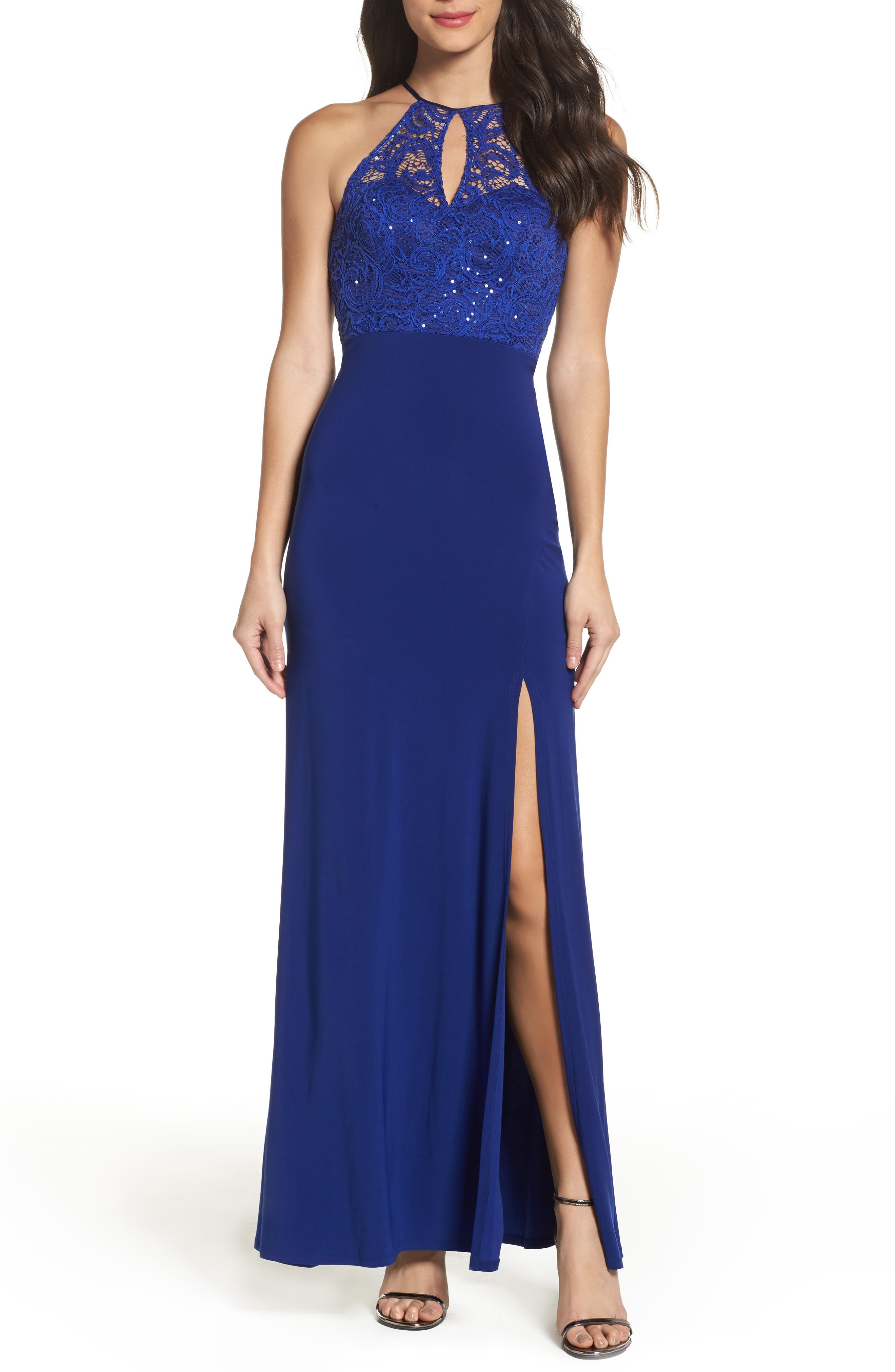Sequin Hearts Side Slit Lace & Jersey Gown