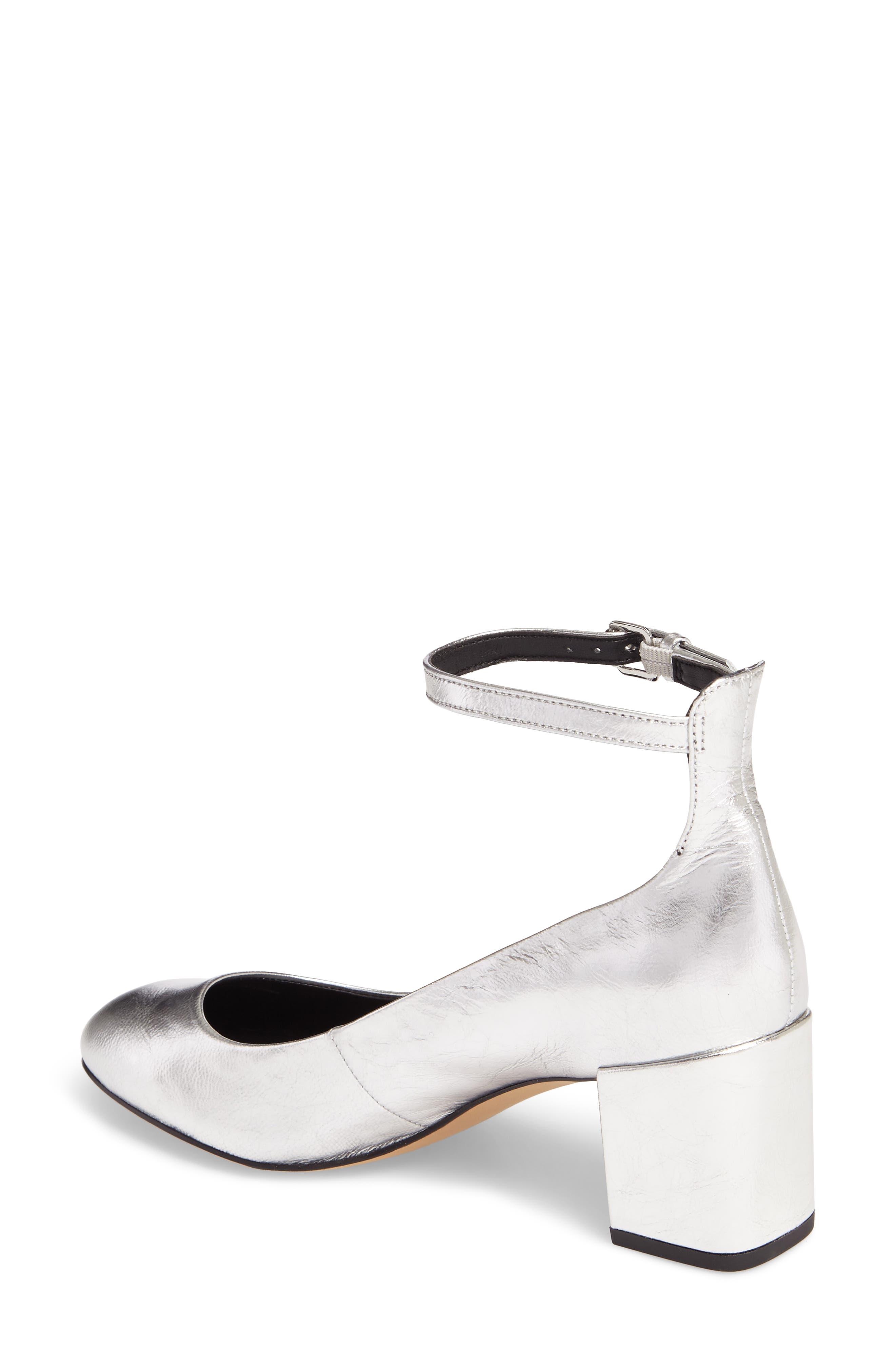 Bridget Ankle Strap Pump,                             Alternate thumbnail 2, color,                             Silver Leather