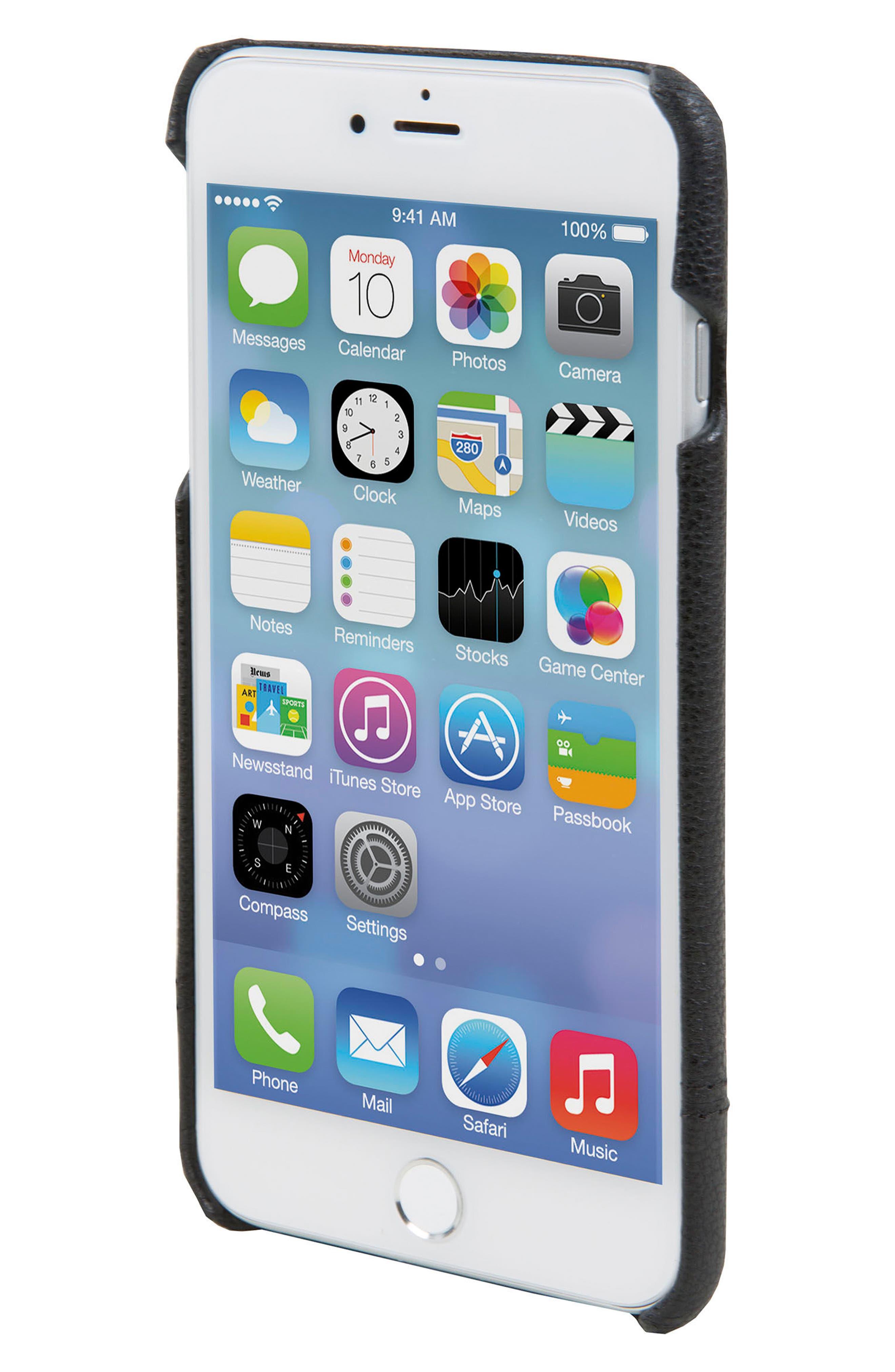 Focus Leather iPhone 6/6s/7/8 Plus Case,                             Alternate thumbnail 3, color,                             Black