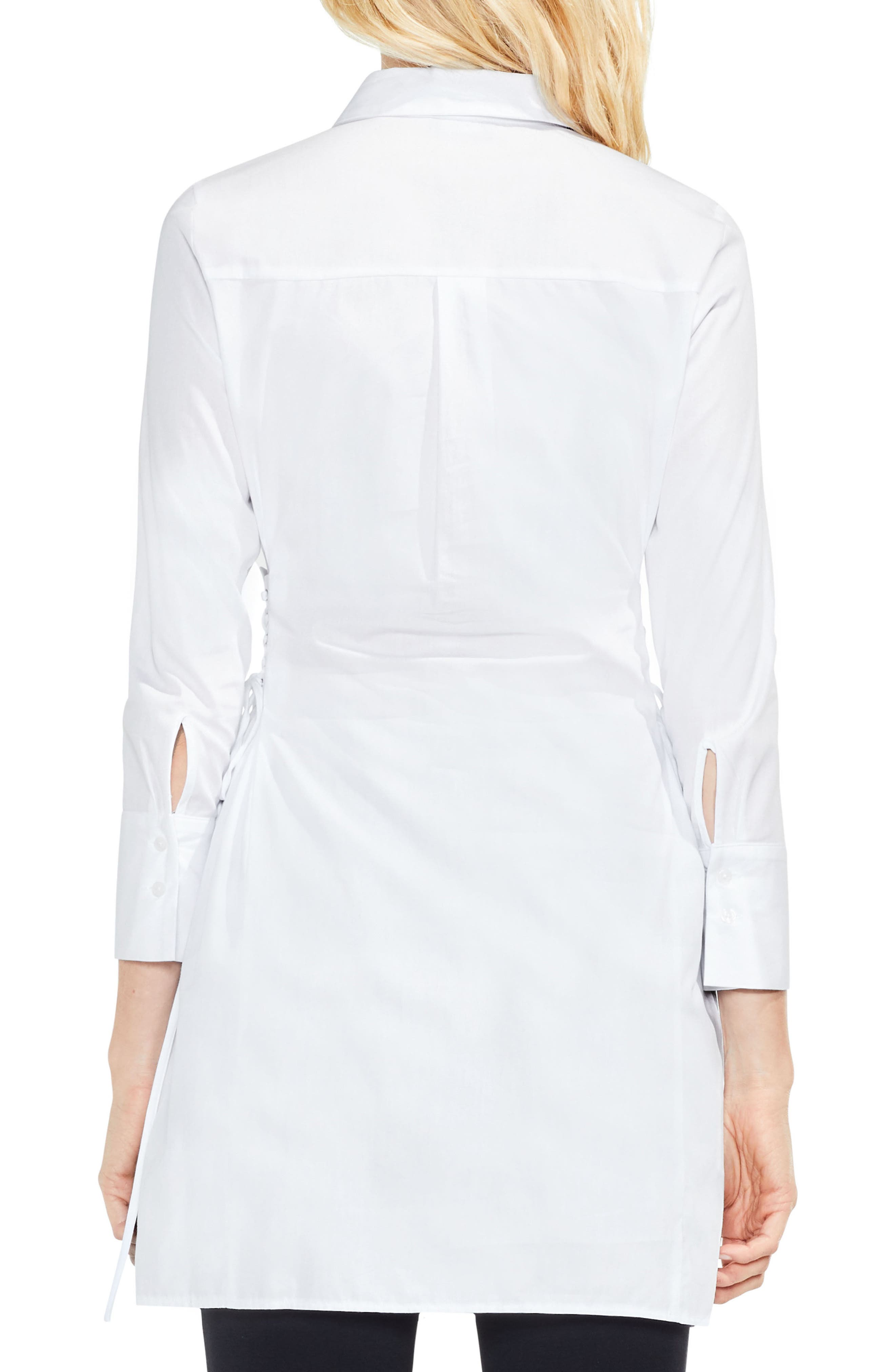 Side Lace-Up Tunic Shirt,                             Alternate thumbnail 2, color,                             Ultra White