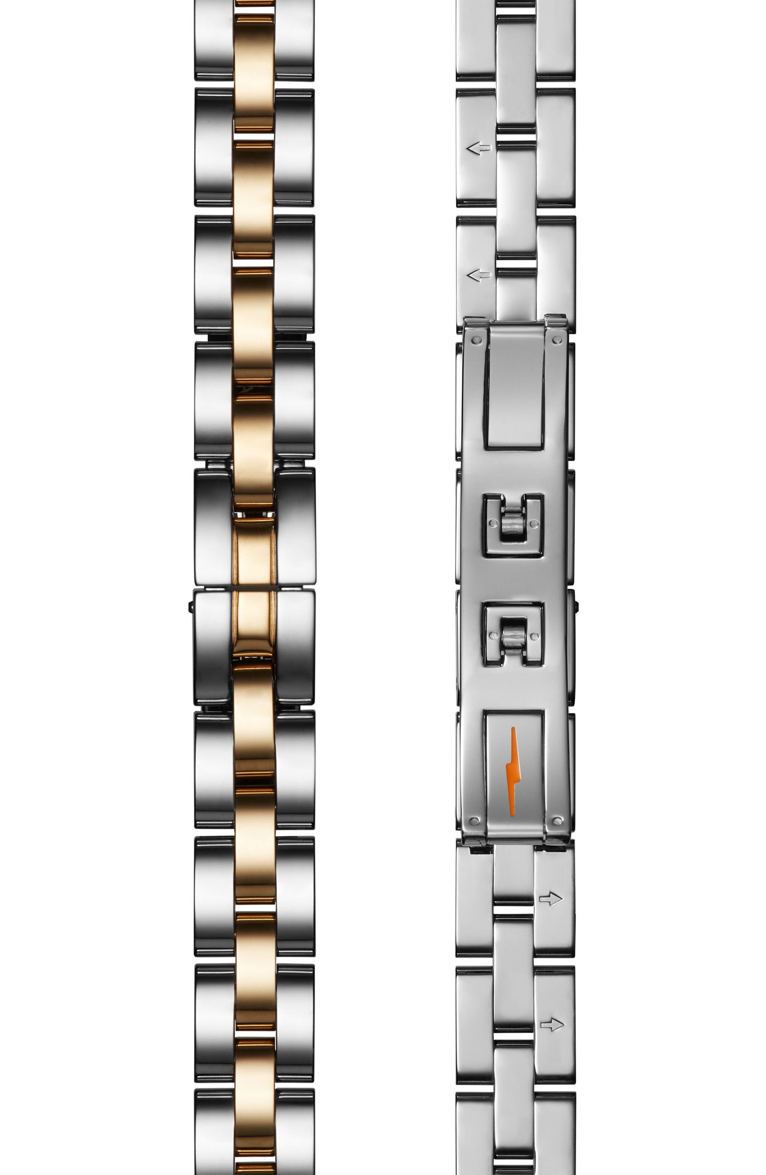 'The Birdy' Bracelet Watch, 34mm,                             Alternate thumbnail 4, color,                             Silver/ Bedrock Mop/ Gold