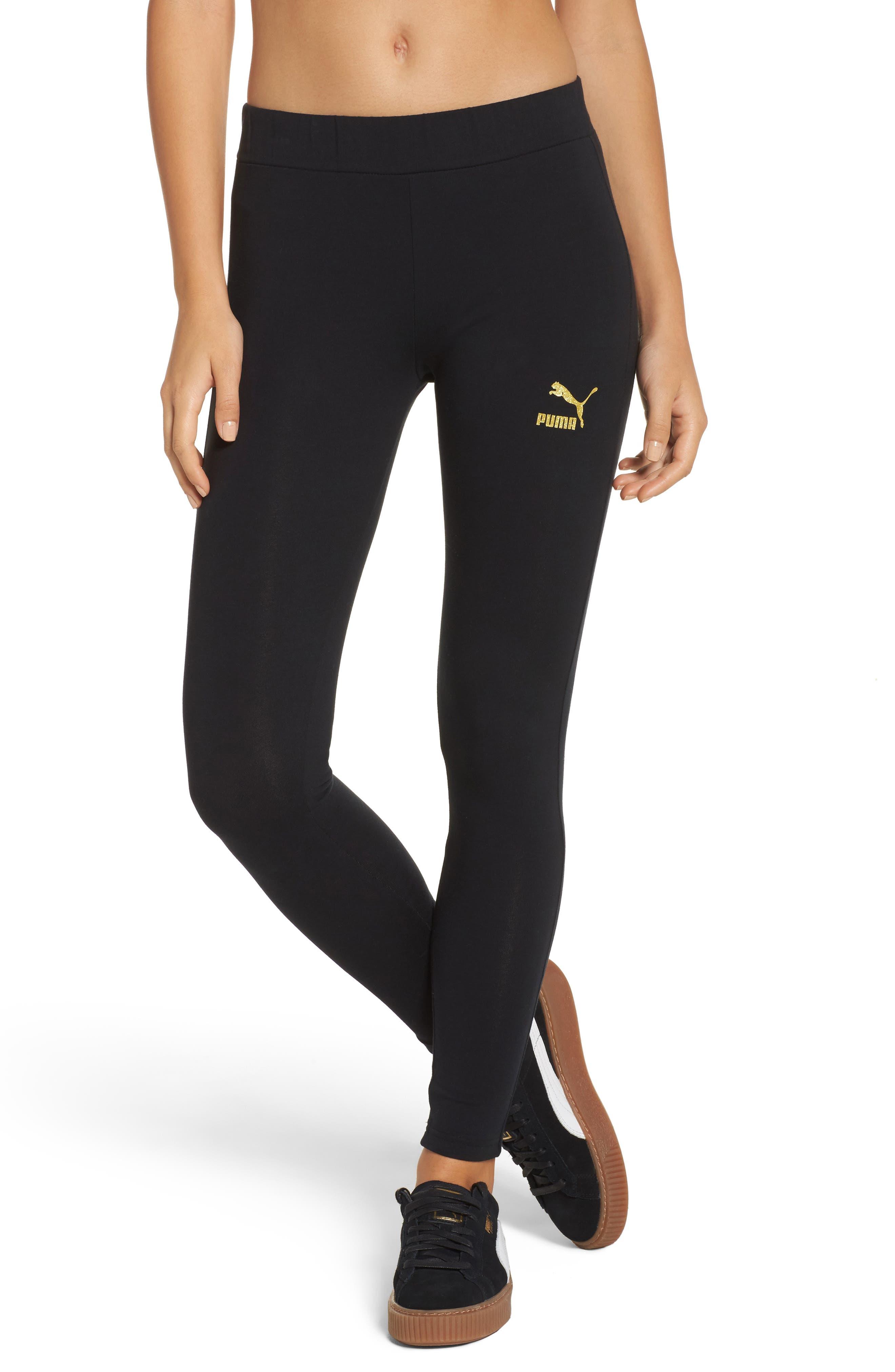 Glam Leggings,                         Main,                         color, Puma Black-Gold Glitter
