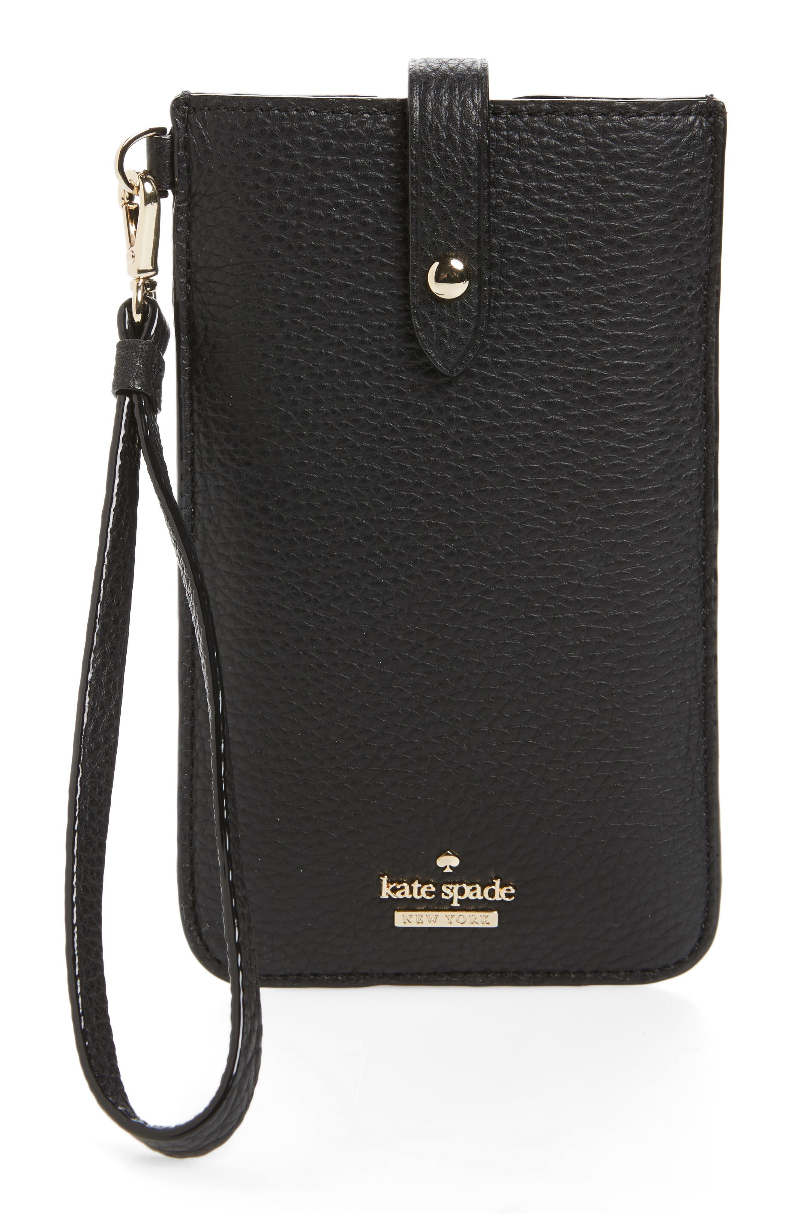 leather smartphone wristlet,                             Main thumbnail 1, color,                             Black