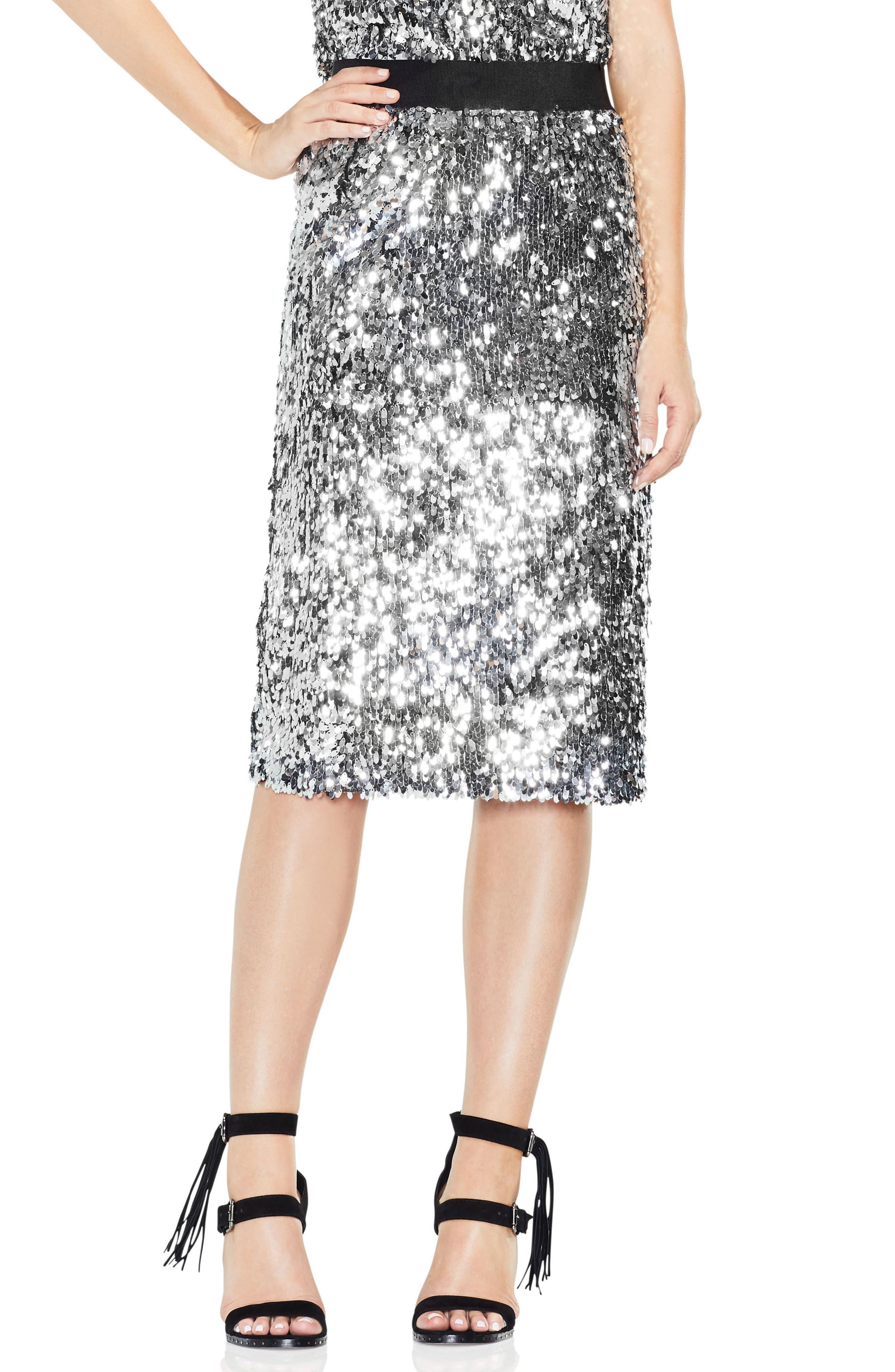 Allover Sequin Pencil Skirt,                         Main,                         color, Chrome