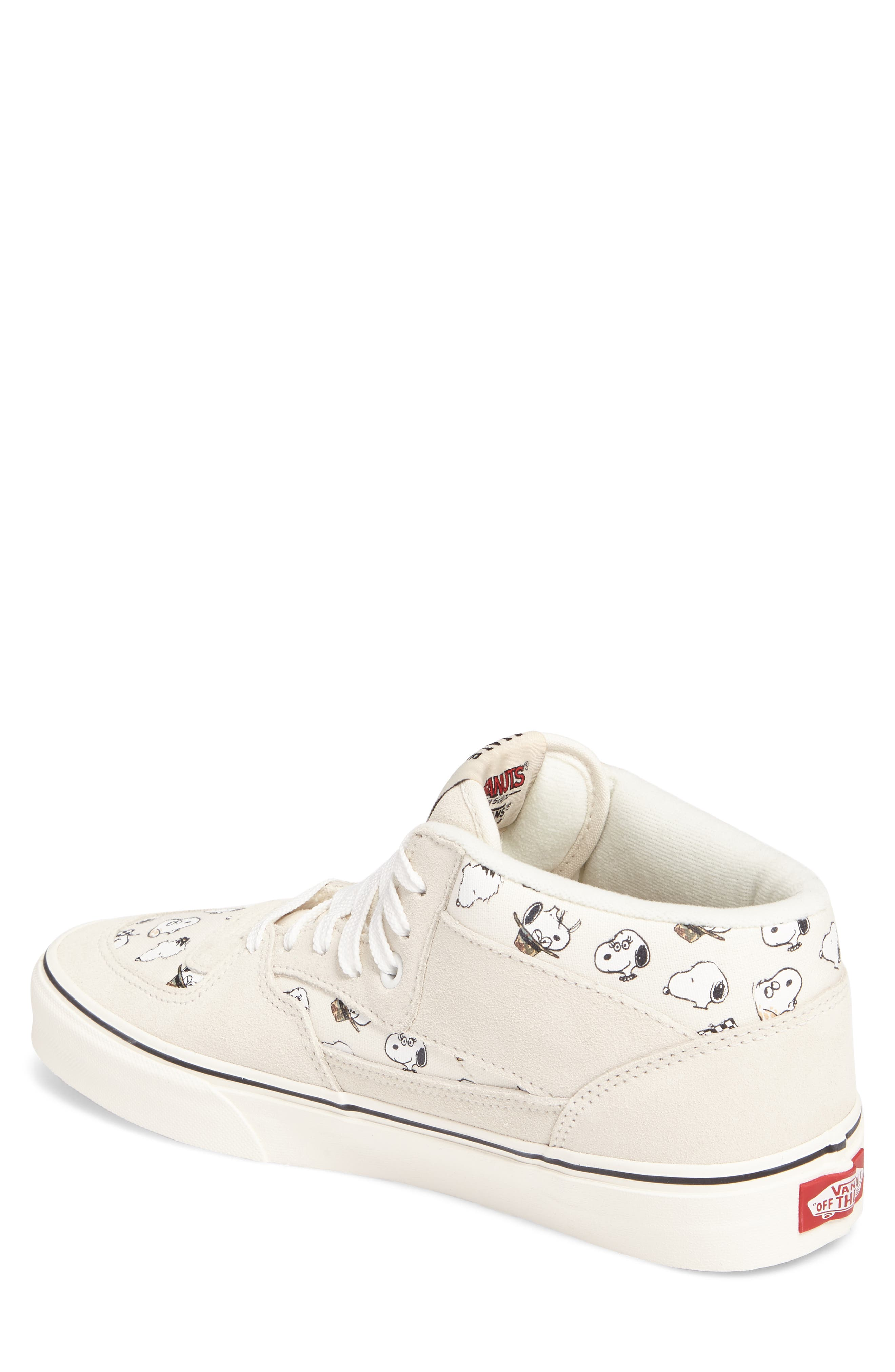 x Peanuts<sup>®</sup> Half Cab Sneaker,                             Alternate thumbnail 2, color,                             Marshmallow Canvas/Suede