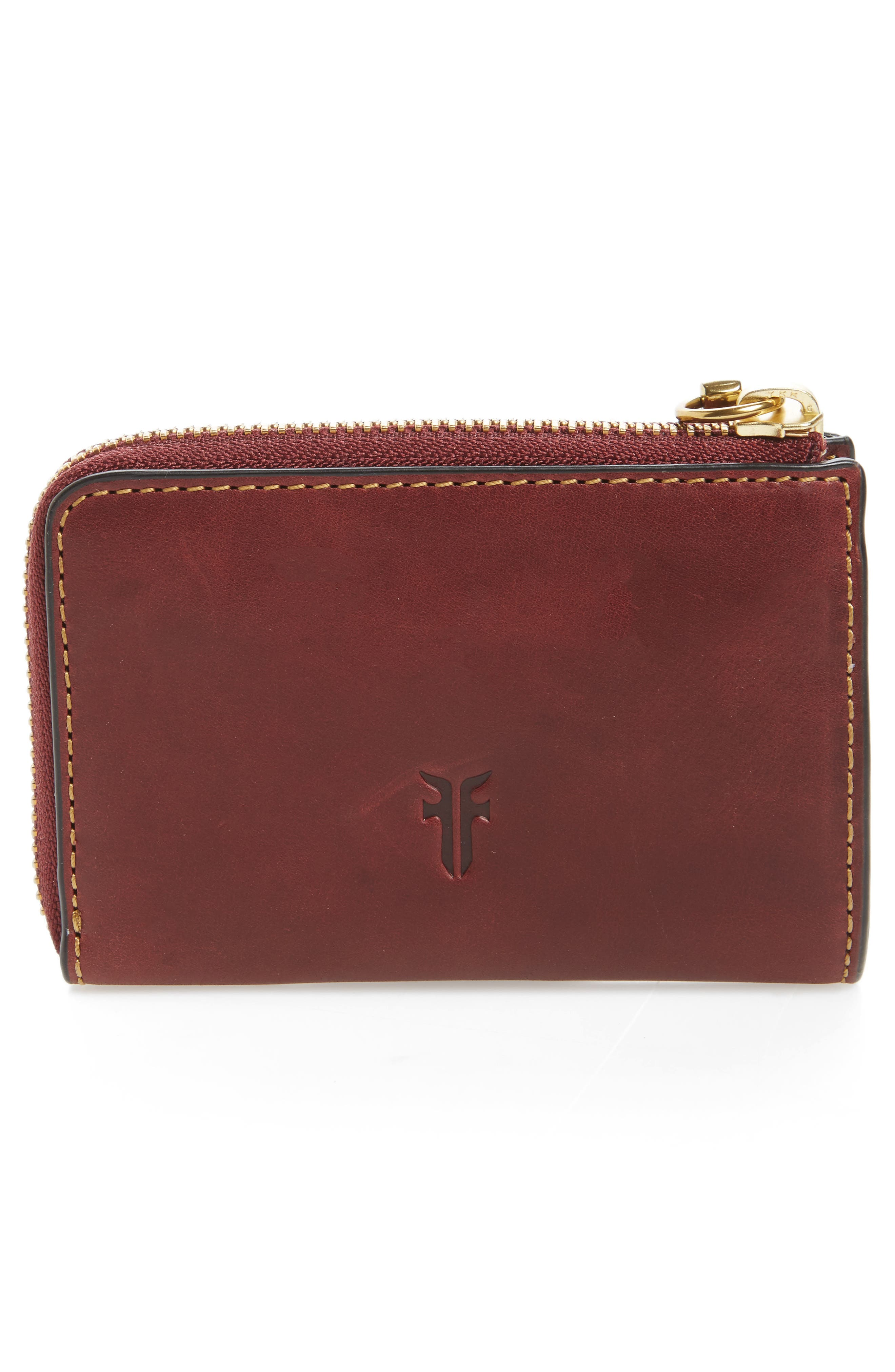 Small Ilana Harness Zip Leather Wallet,                             Alternate thumbnail 4, color,                             Wine