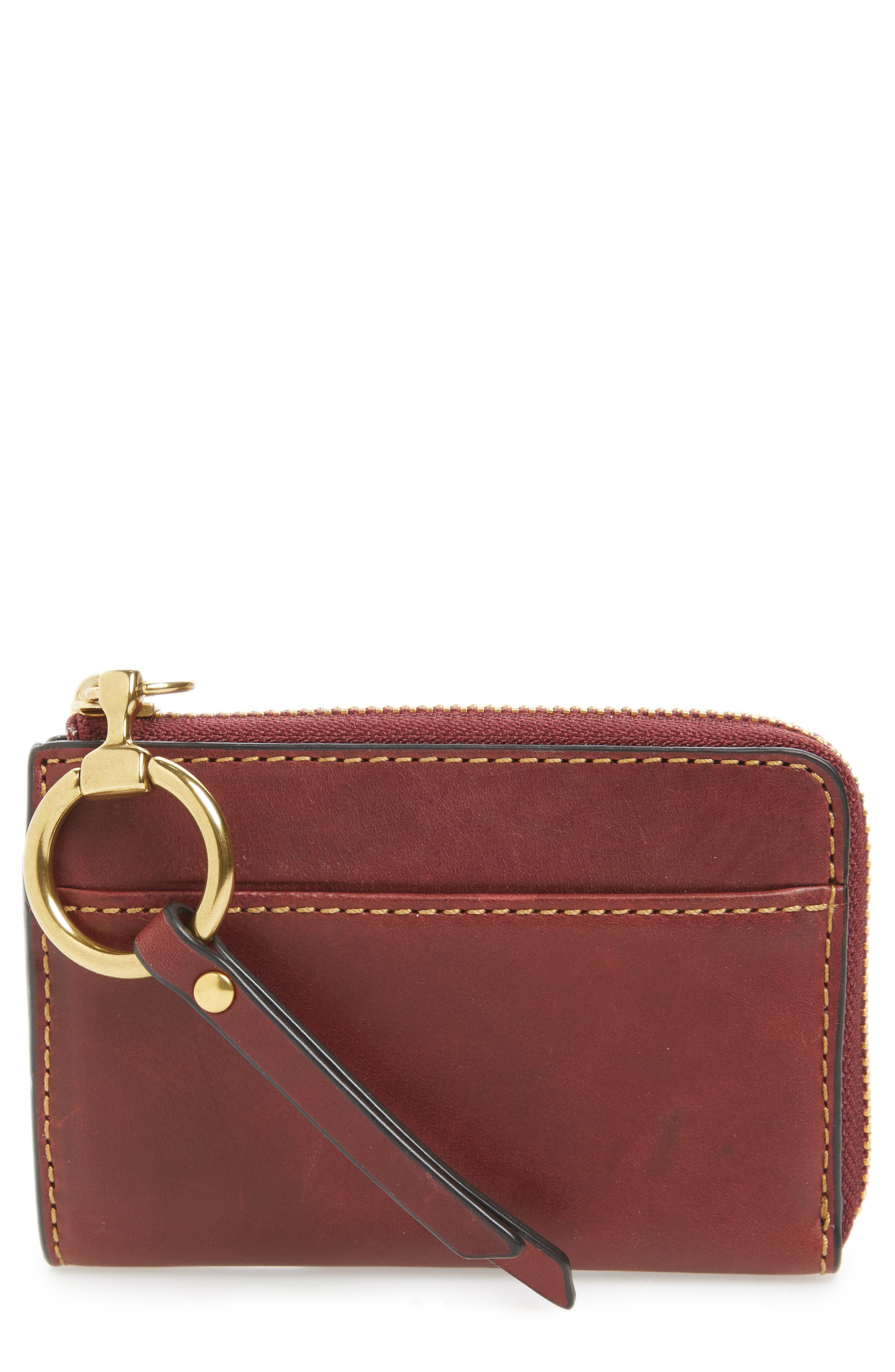 Small Ilana Harness Zip Leather Wallet,                             Main thumbnail 1, color,                             Wine