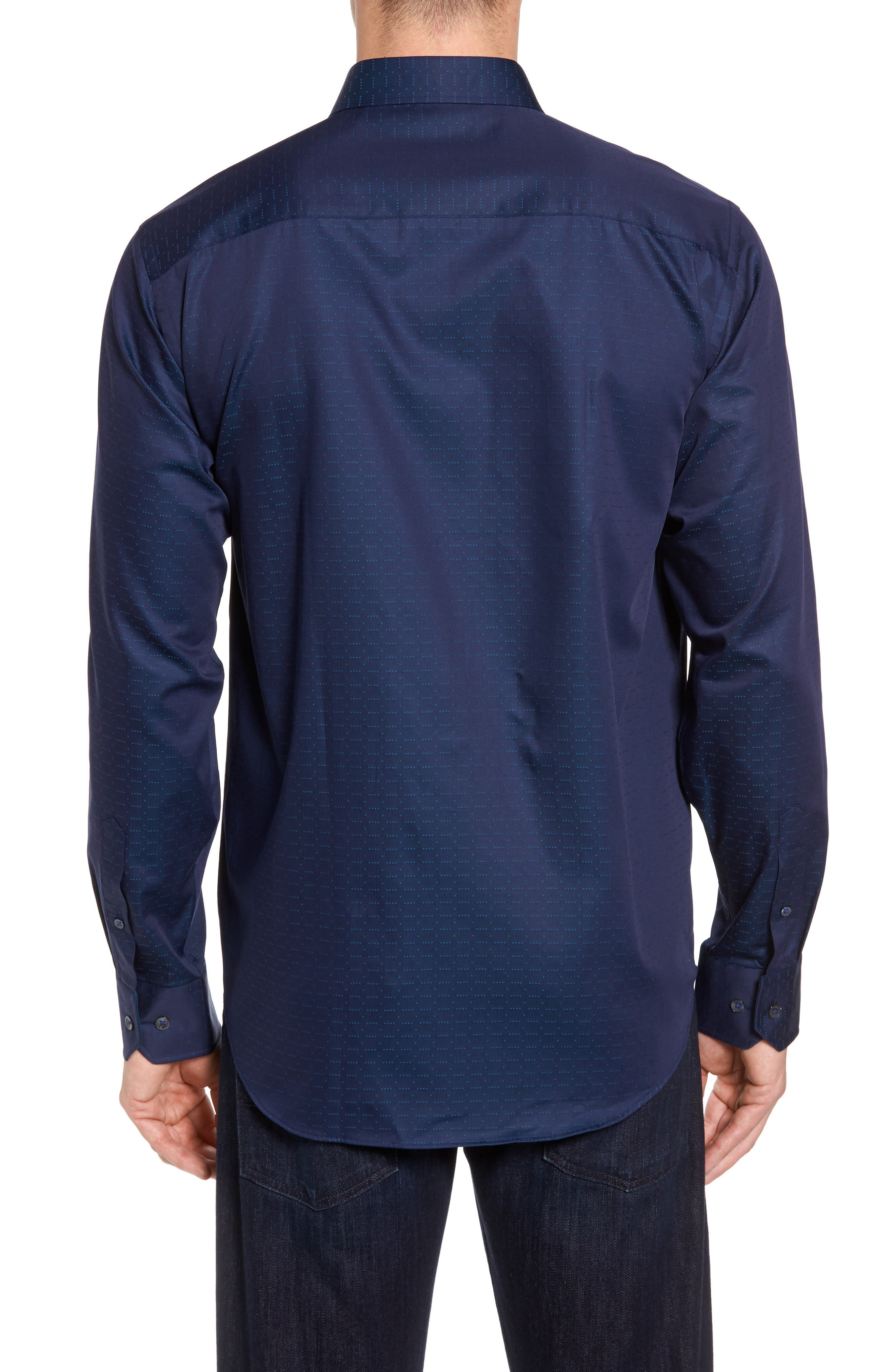Classic Fit Square Dobby Sport Shirt,                             Alternate thumbnail 2, color,                             Midnight