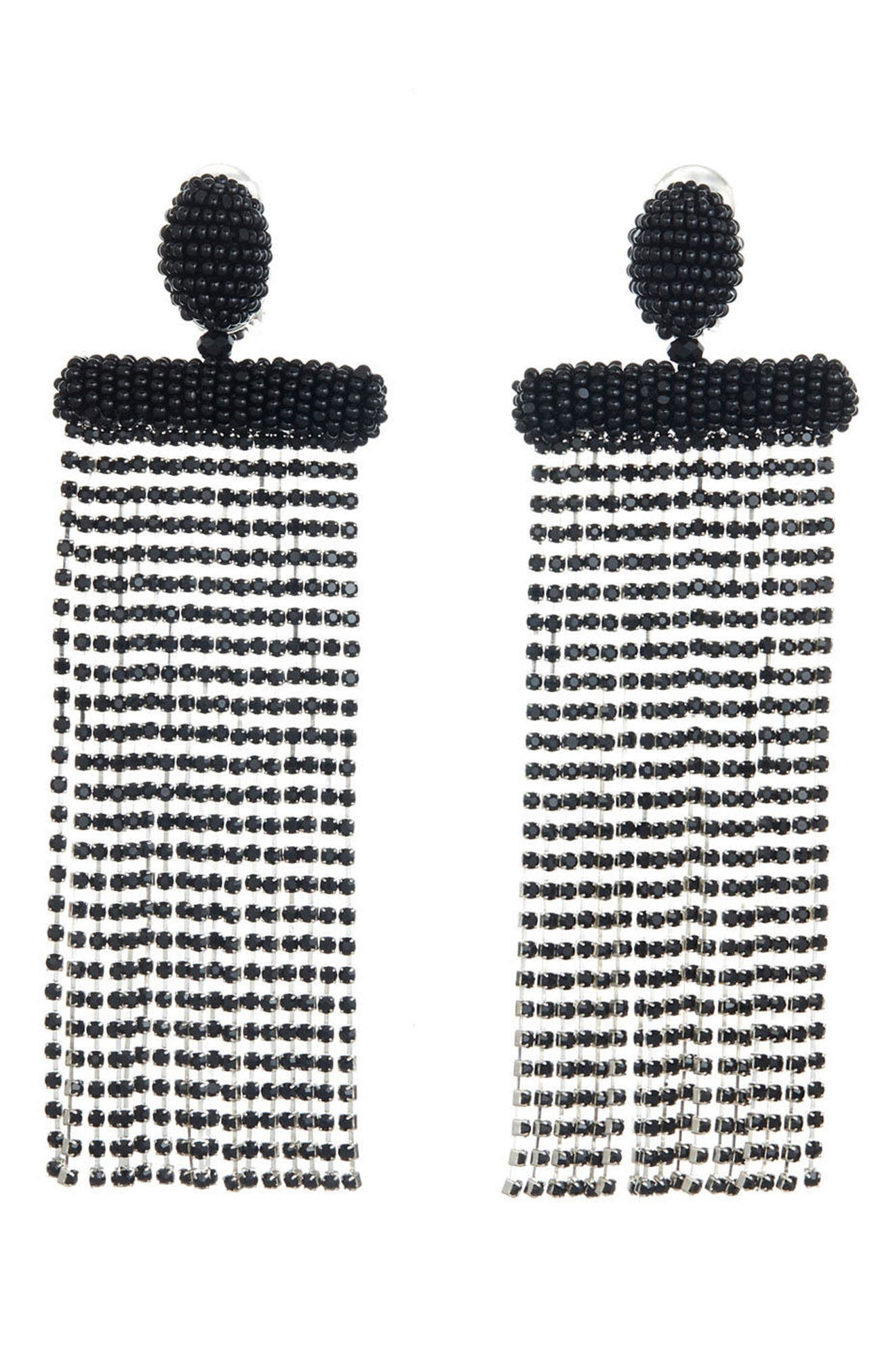 Waterfall Drop Earrings,                             Alternate thumbnail 3, color,                             Black