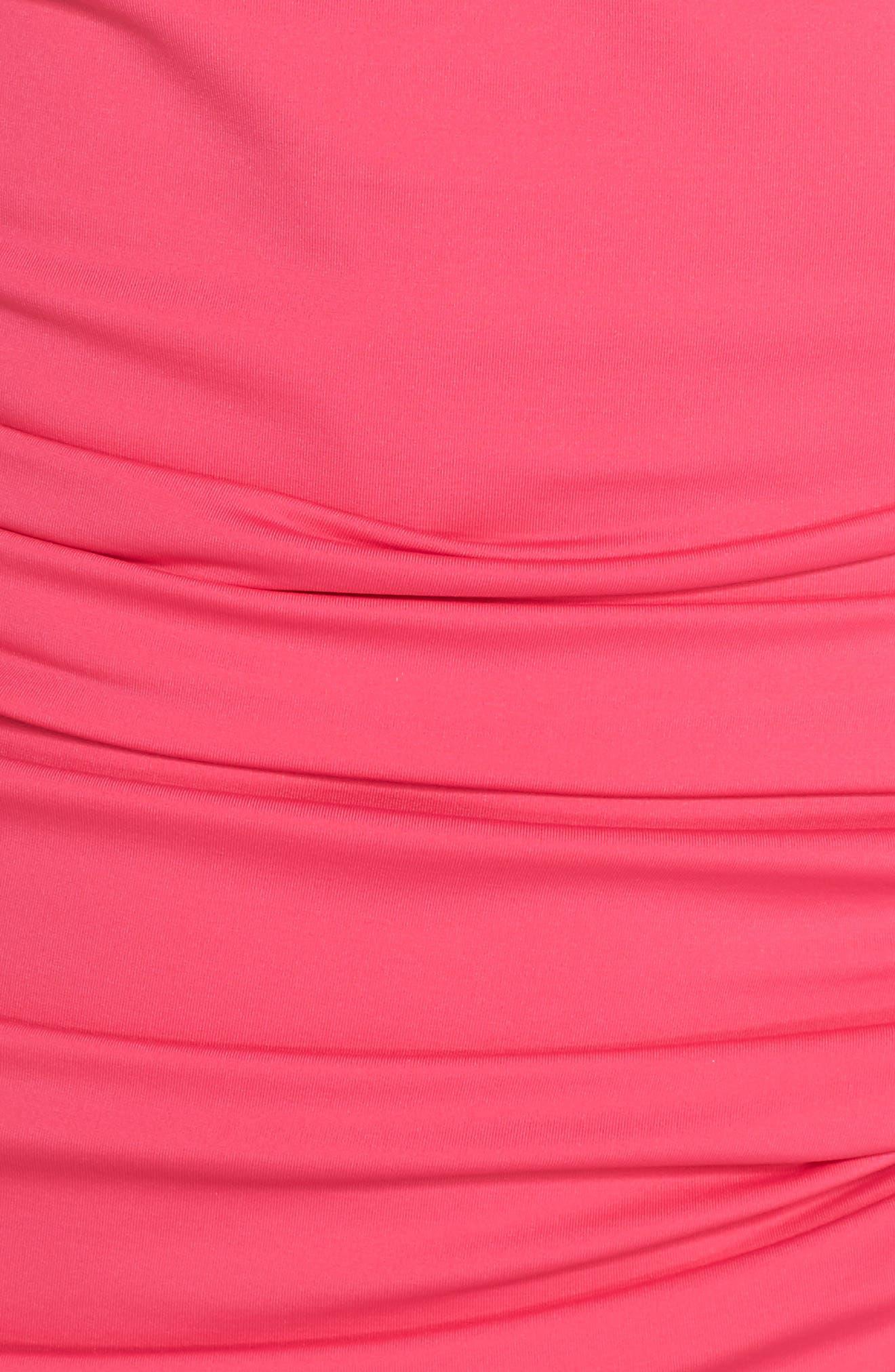 Pearl Shirred Long Tankini Top,                             Alternate thumbnail 5, color,                             Bright Fuchsia