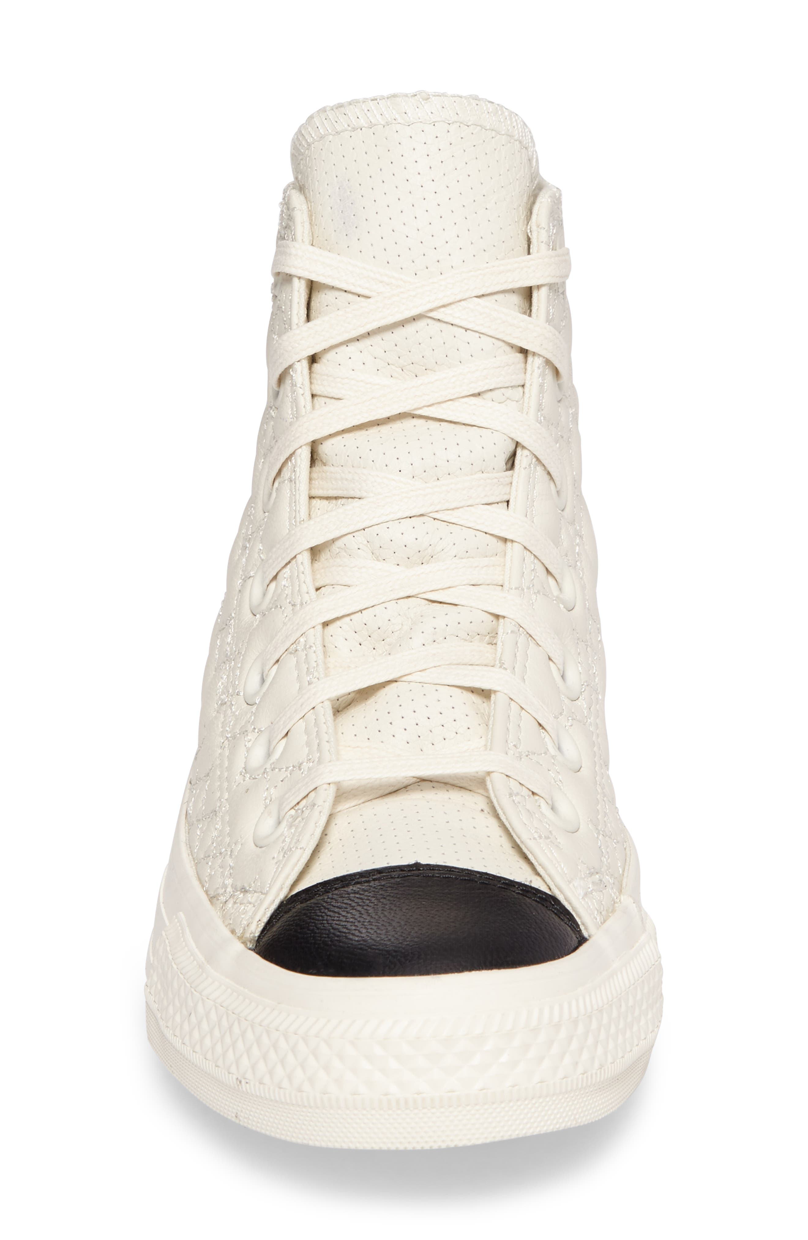 All Star<sup>®</sup> Quilted High Top Sneaker,                             Alternate thumbnail 4, color,                             Egret Leather