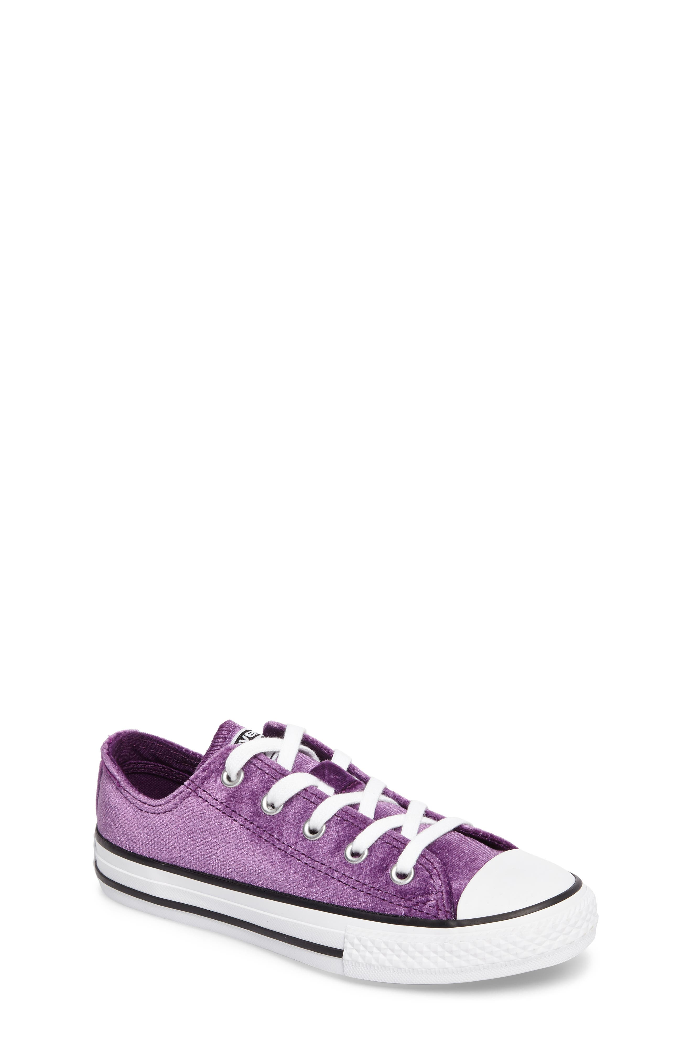Chuck Taylor<sup>®</sup> All Star<sup>®</sup> Velvet OX Low Top Sneaker,                             Main thumbnail 1, color,                             Night Purple Velvet