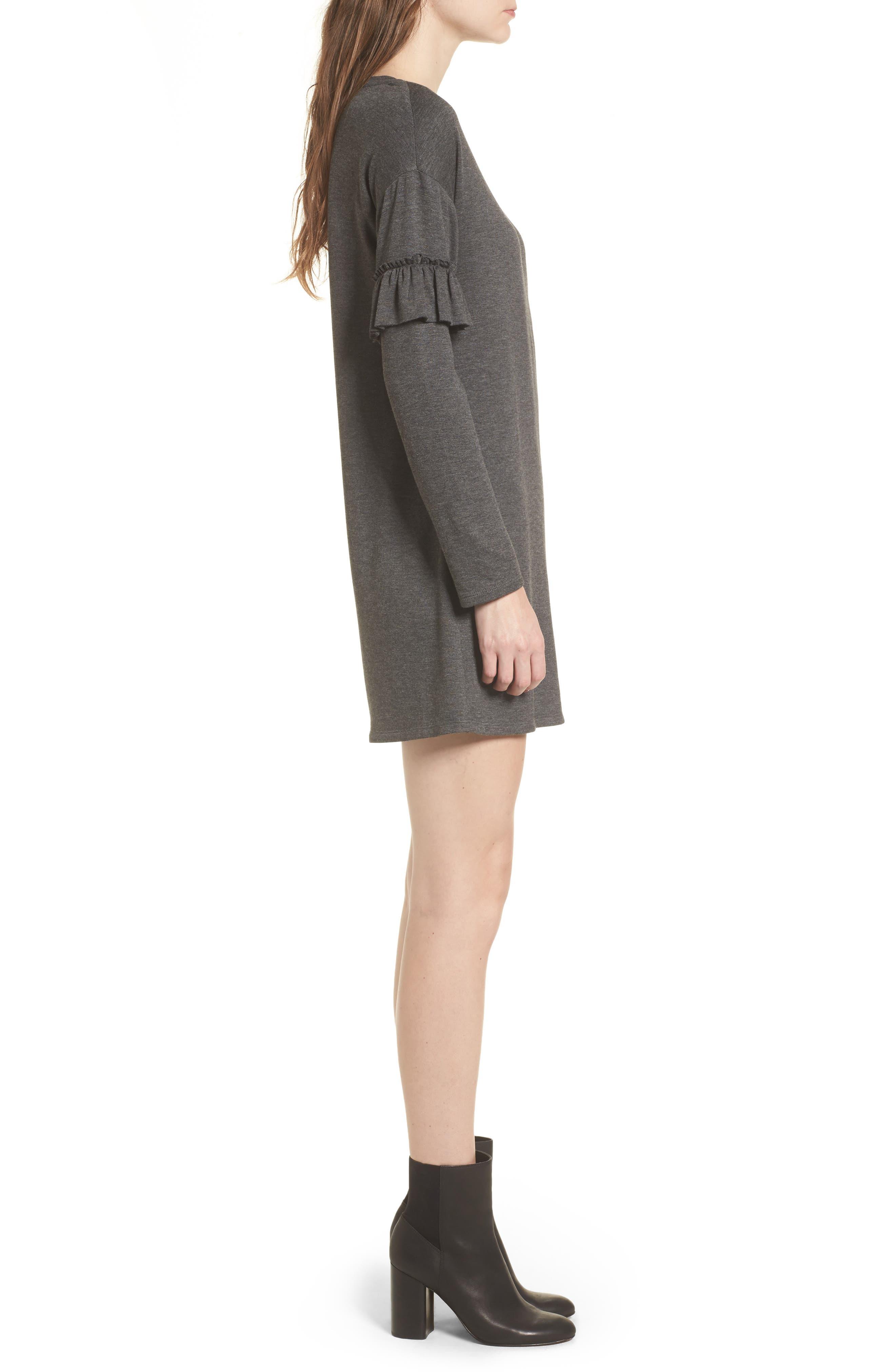 Ruffle Sleeve Sweater Dress,                             Alternate thumbnail 3, color,                             Charcoal