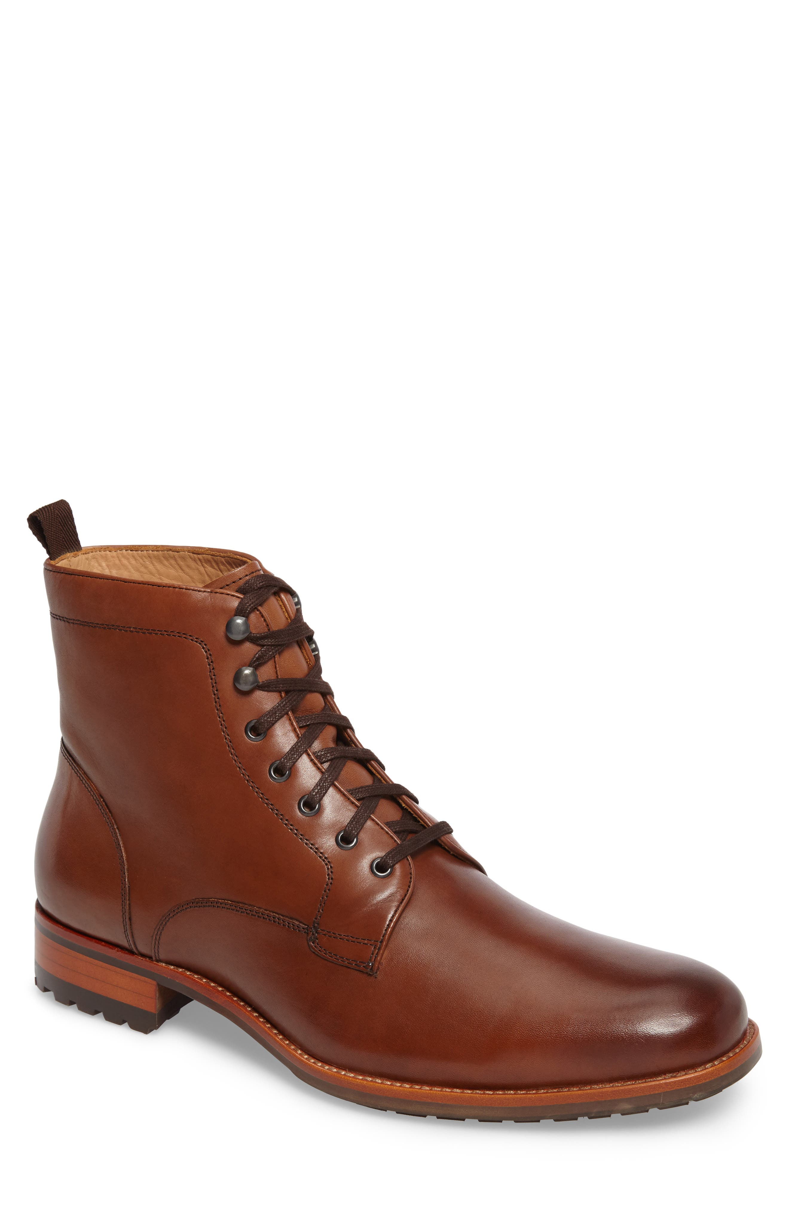 Axeford Plain Toe Boot,                             Main thumbnail 1, color,                             Luggage Leather