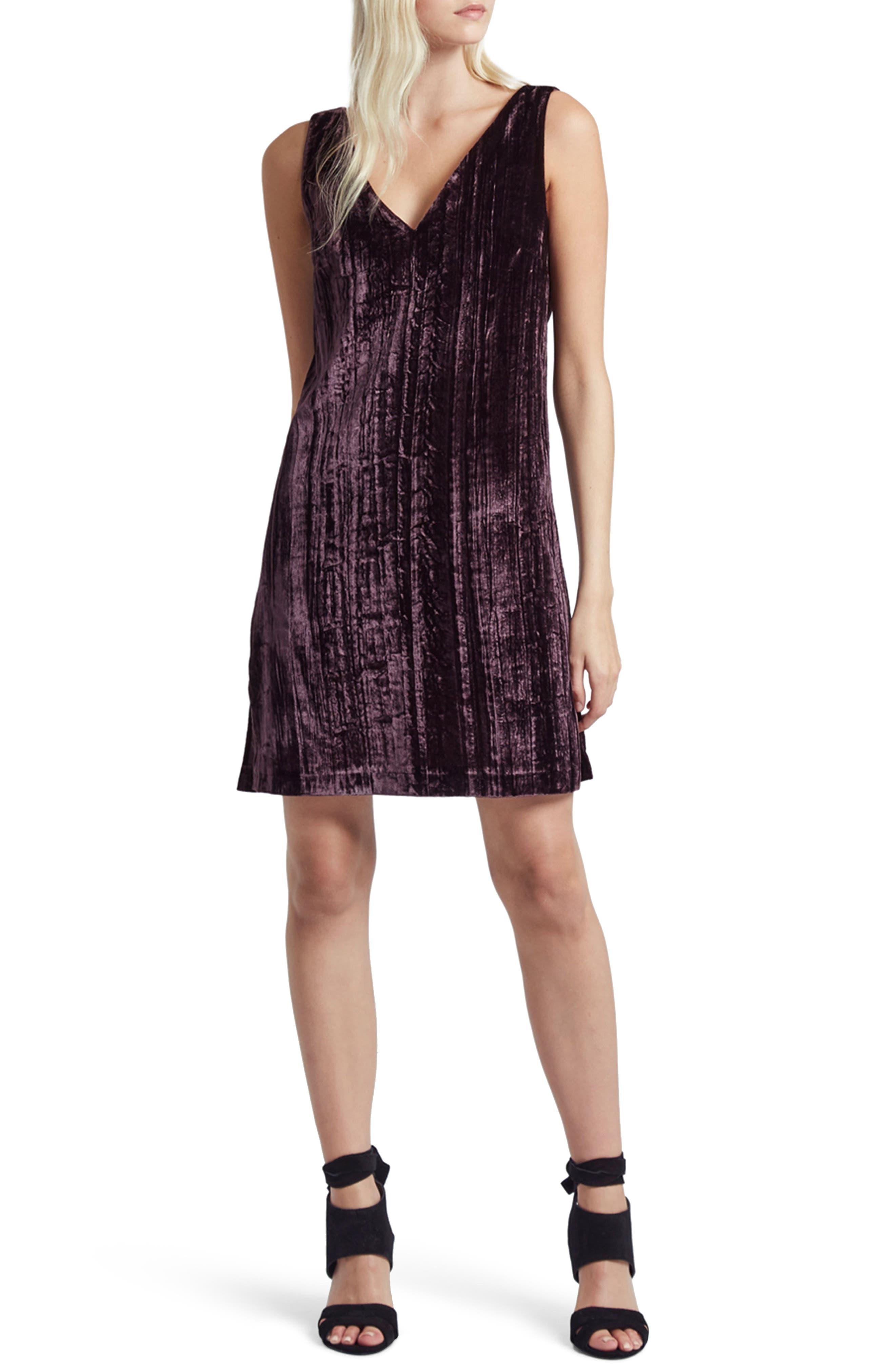 Theresa Velvet Shift Dress,                         Main,                         color, Hortensia Haze