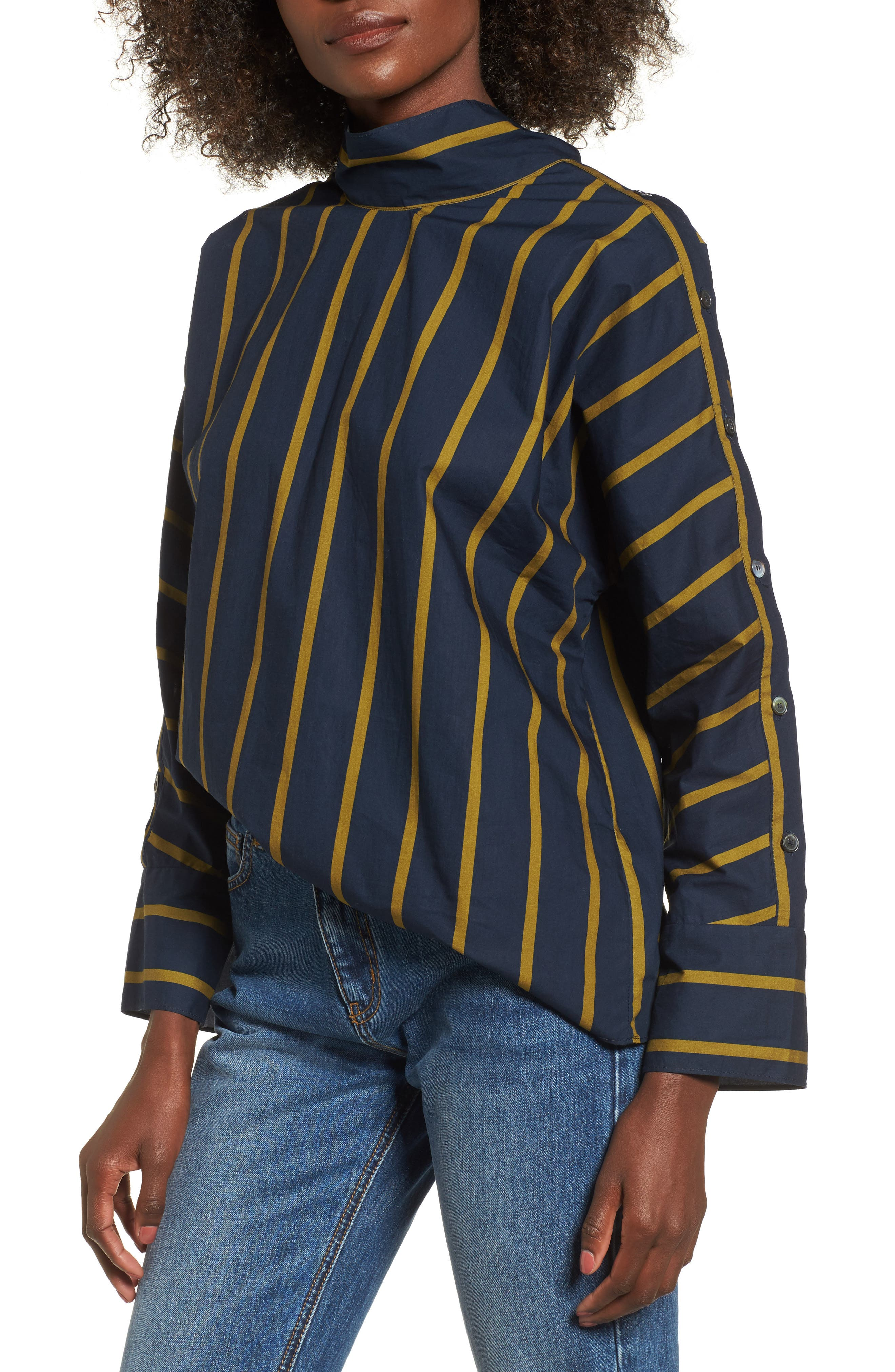Stripe Button Sleeve Shirt,                         Main,                         color, Navy